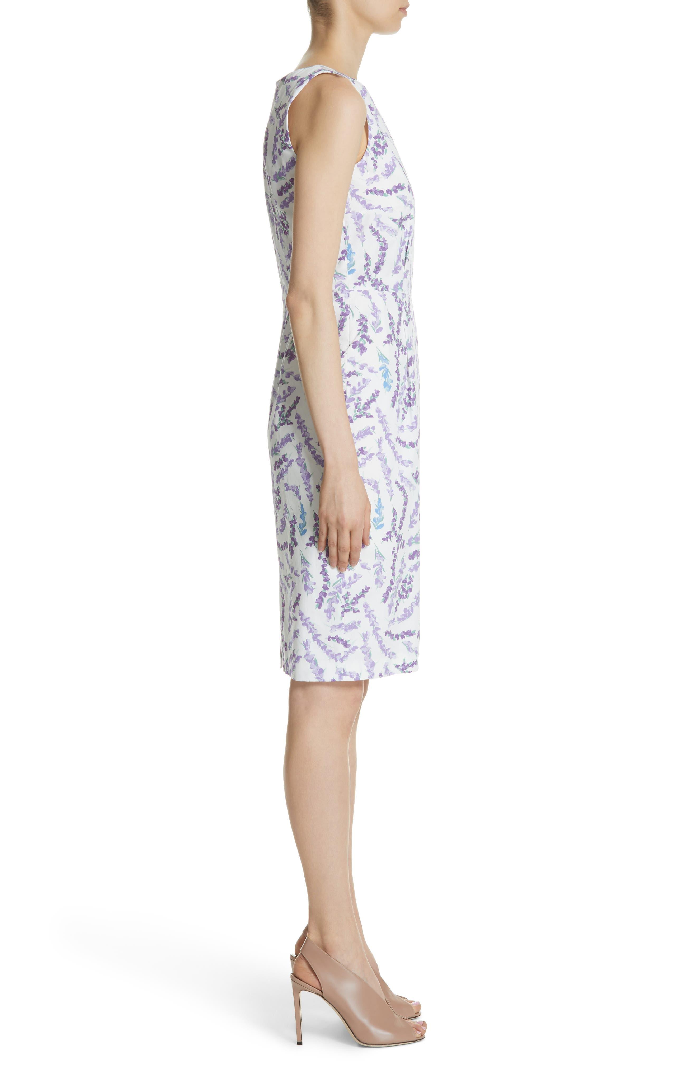 Melfi Print Cotton Sheath Dress,                             Alternate thumbnail 3, color,                             Lavender