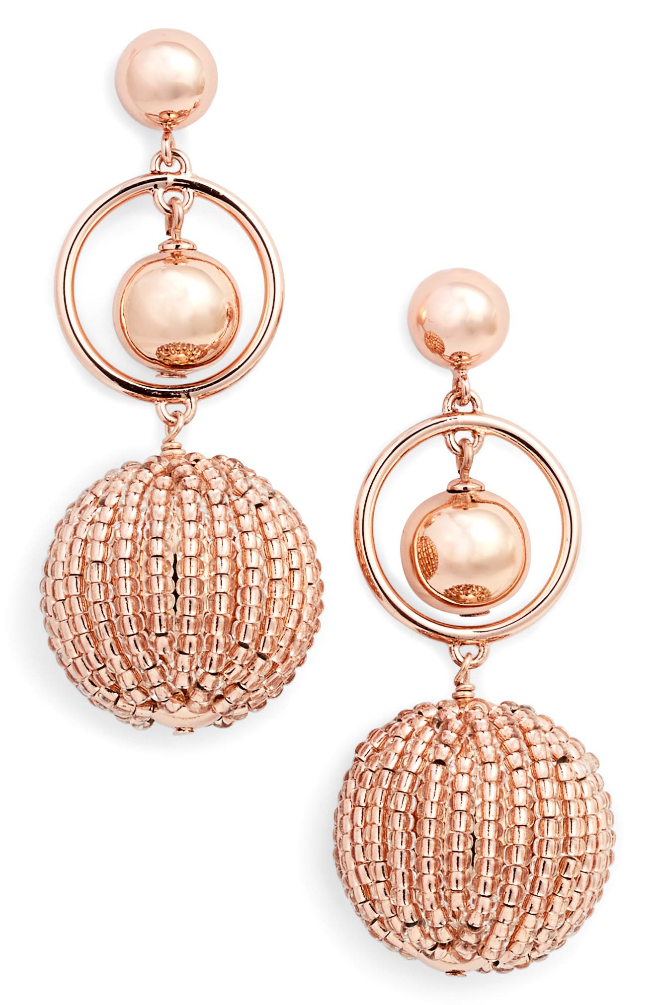 beads and baubles drop earrings,                             Main thumbnail 1, color,                             Rose Gold
