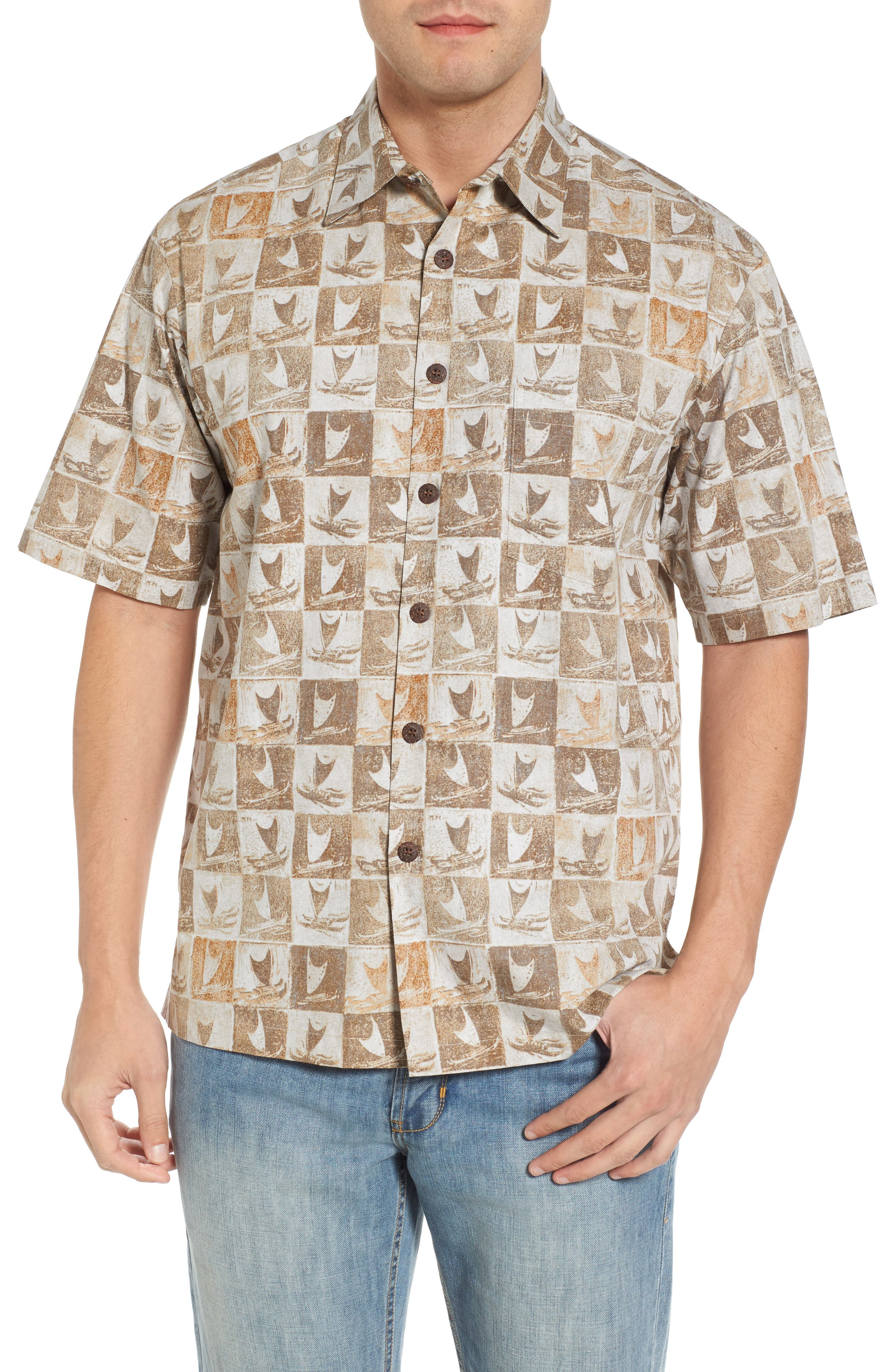 Crab Claw-Be Classic Fit Sport Shirt,                         Main,                         color, Tan