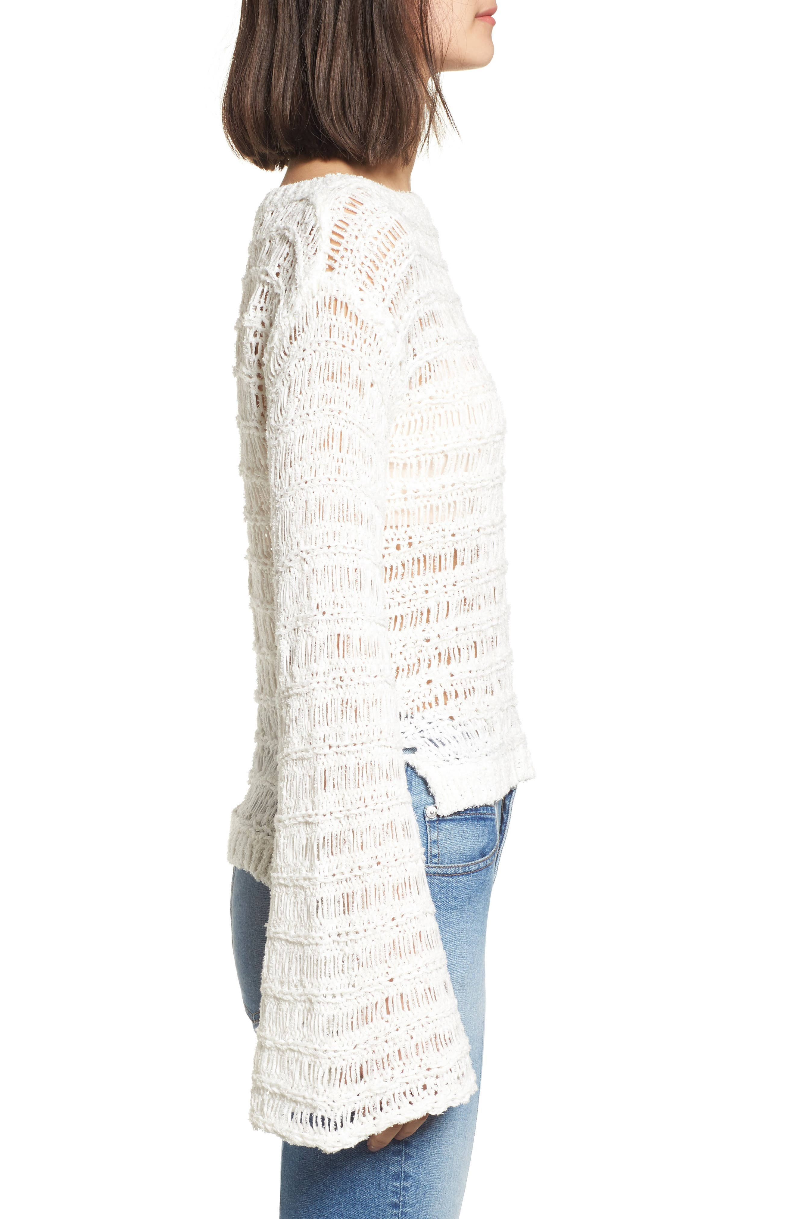 Ladder Stitch Sweater,                             Alternate thumbnail 3, color,                             Ivory
