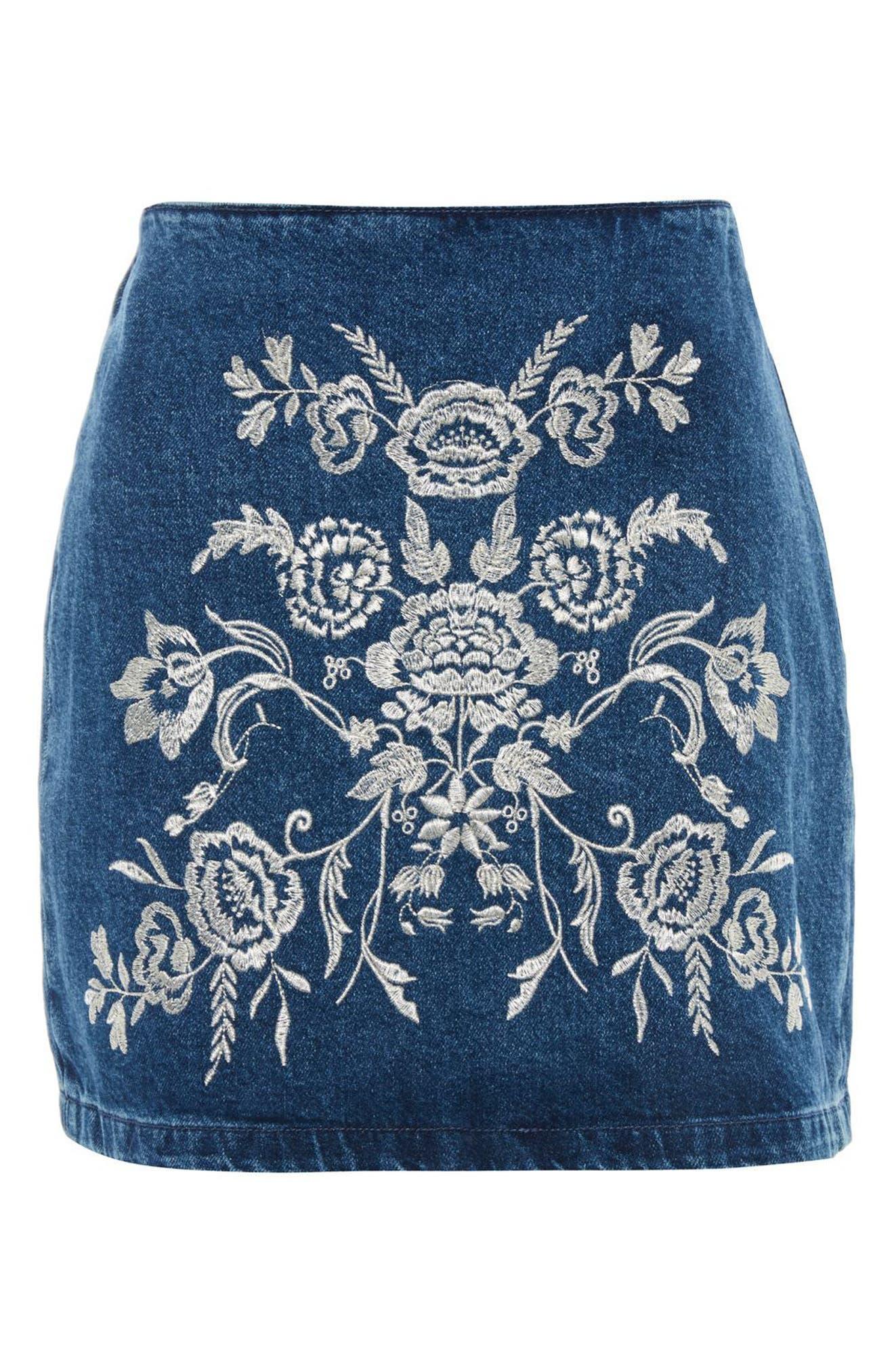Floral Embroidered A-Line Skirt,                             Alternate thumbnail 4, color,                             Mid Denim