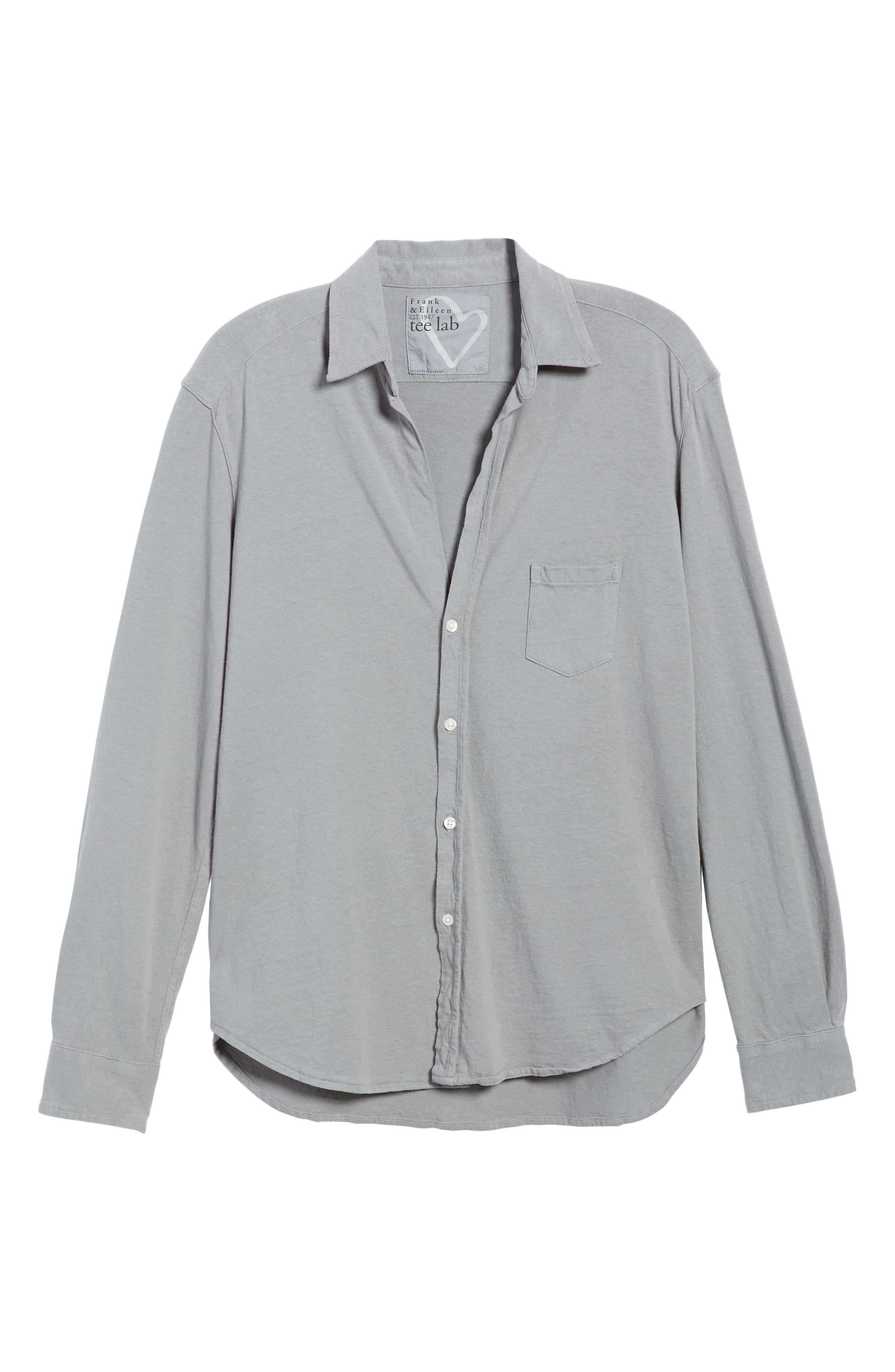 Tee Lab Knit Button Down Shirt,                             Alternate thumbnail 6, color,                             Shadow