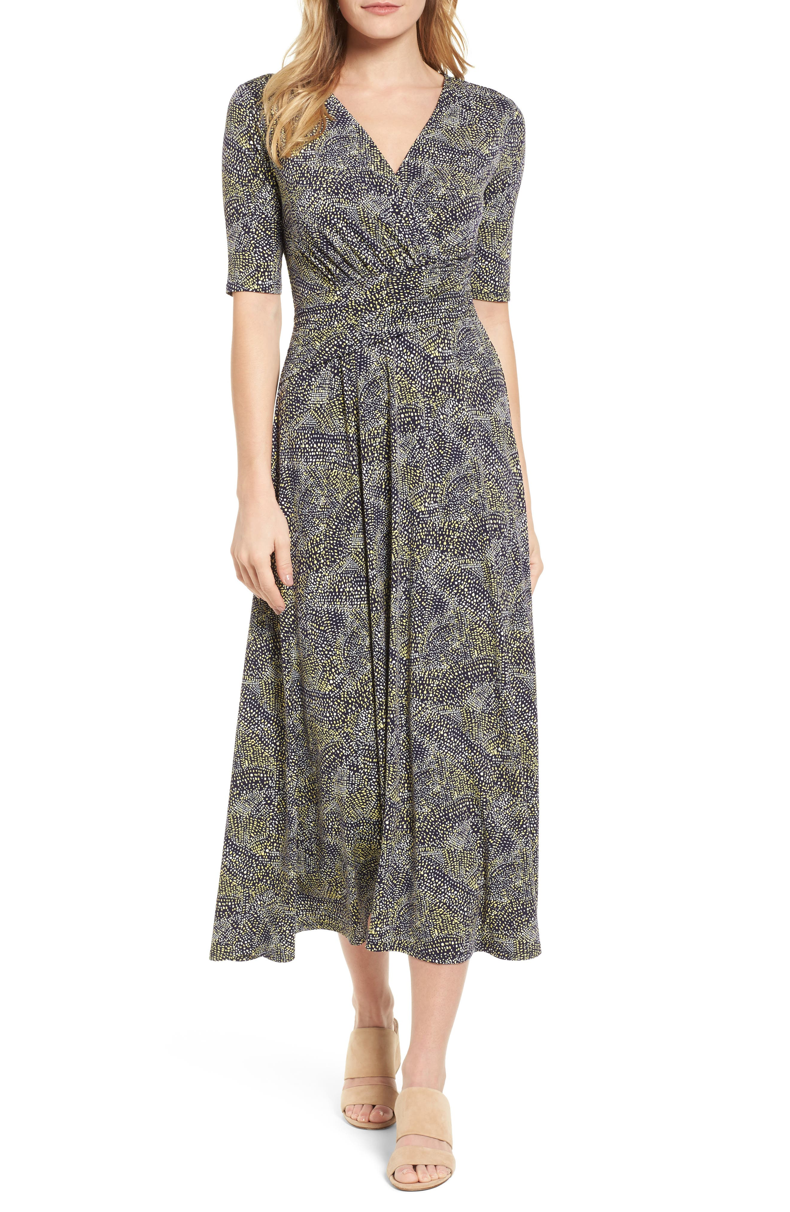 Ruched Speckle Midi Dress,                             Main thumbnail 1, color,                             784-Vivid Canary
