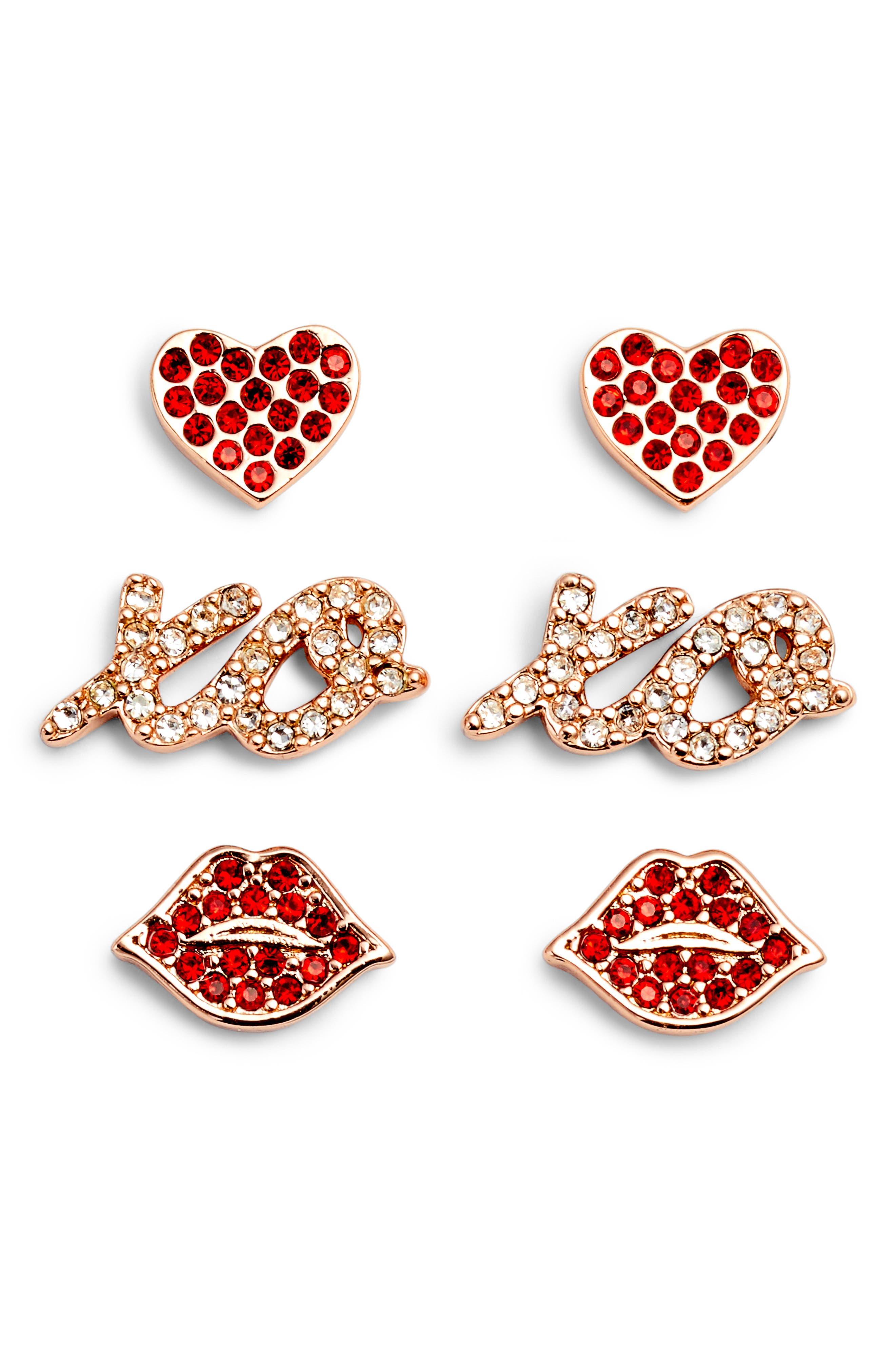 things we love set of 3 stud earrings,                         Main,                         color, Gold Multi