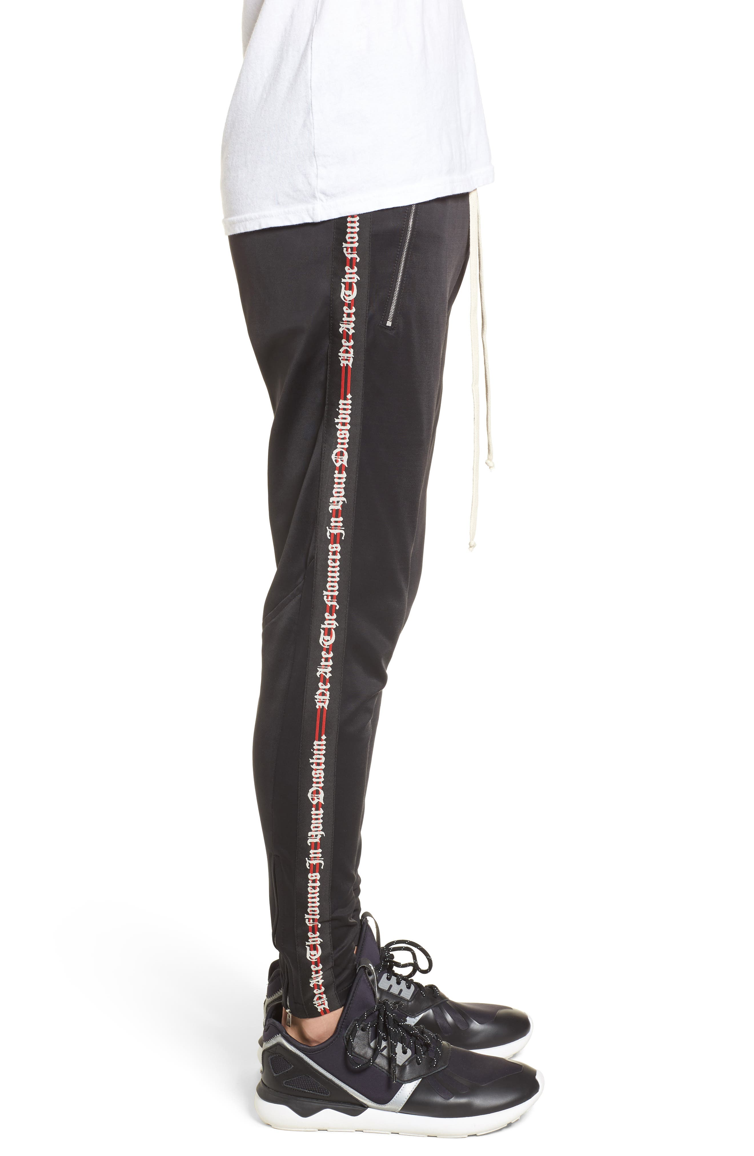 Slim Fit Track Pants,                             Alternate thumbnail 3, color,                             Black