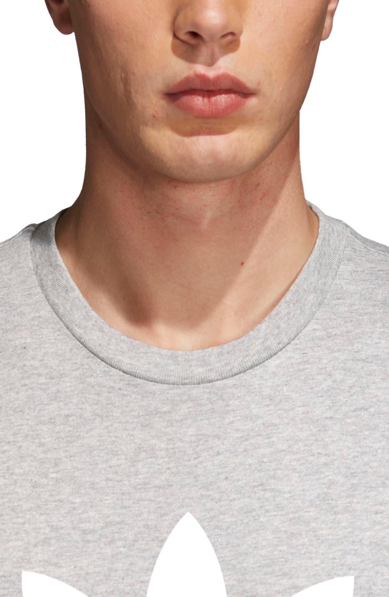 Trefoil T-Shirt,                             Alternate thumbnail 4, color,                             Medium Grey Heather