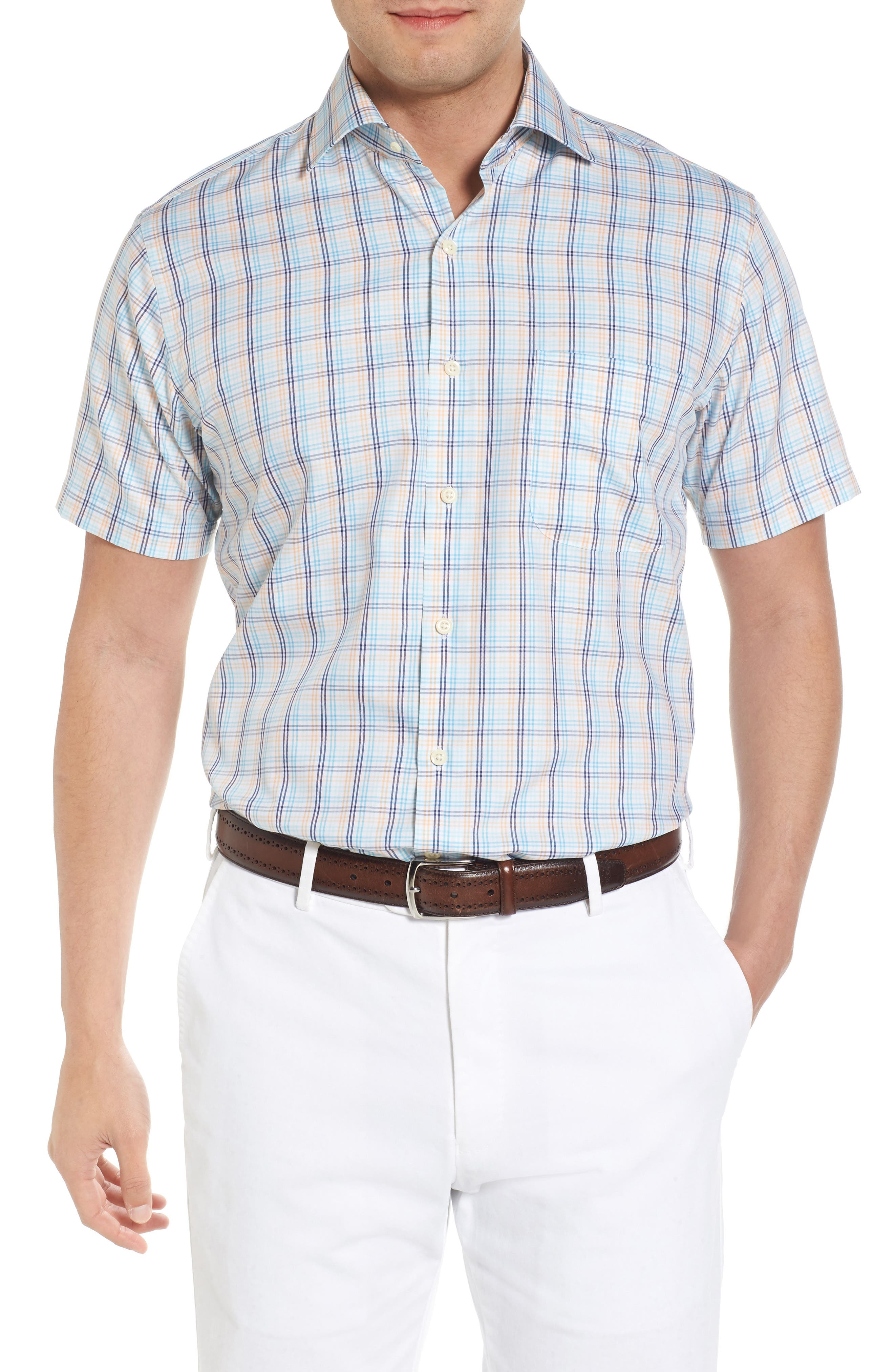 Crown Soft Daybreak Regular Fit Check Sport Shirt,                             Main thumbnail 1, color,                             Dreamsicle