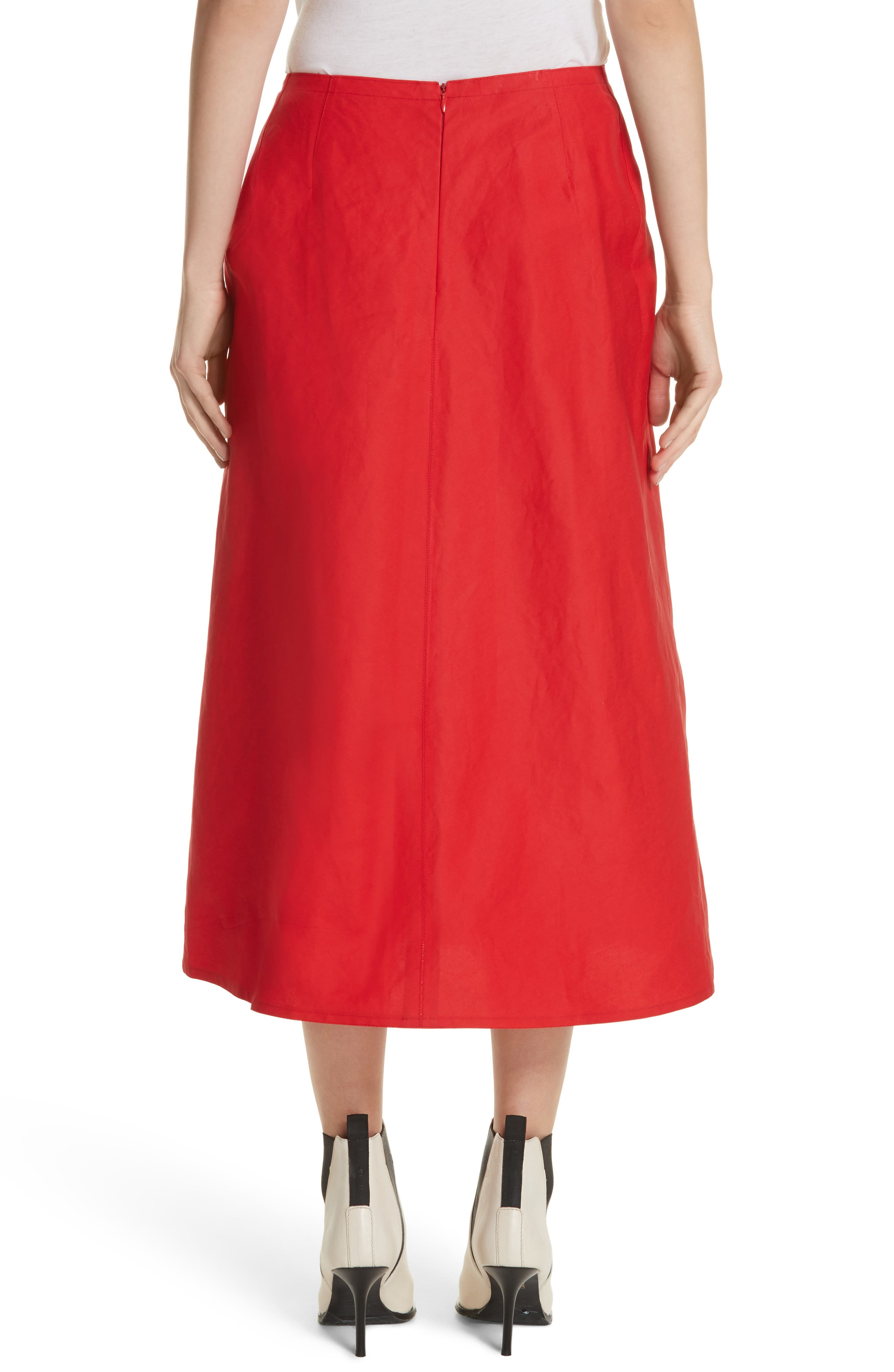 Faux Wrap Skirt,                             Alternate thumbnail 2, color,                             Red Pepper