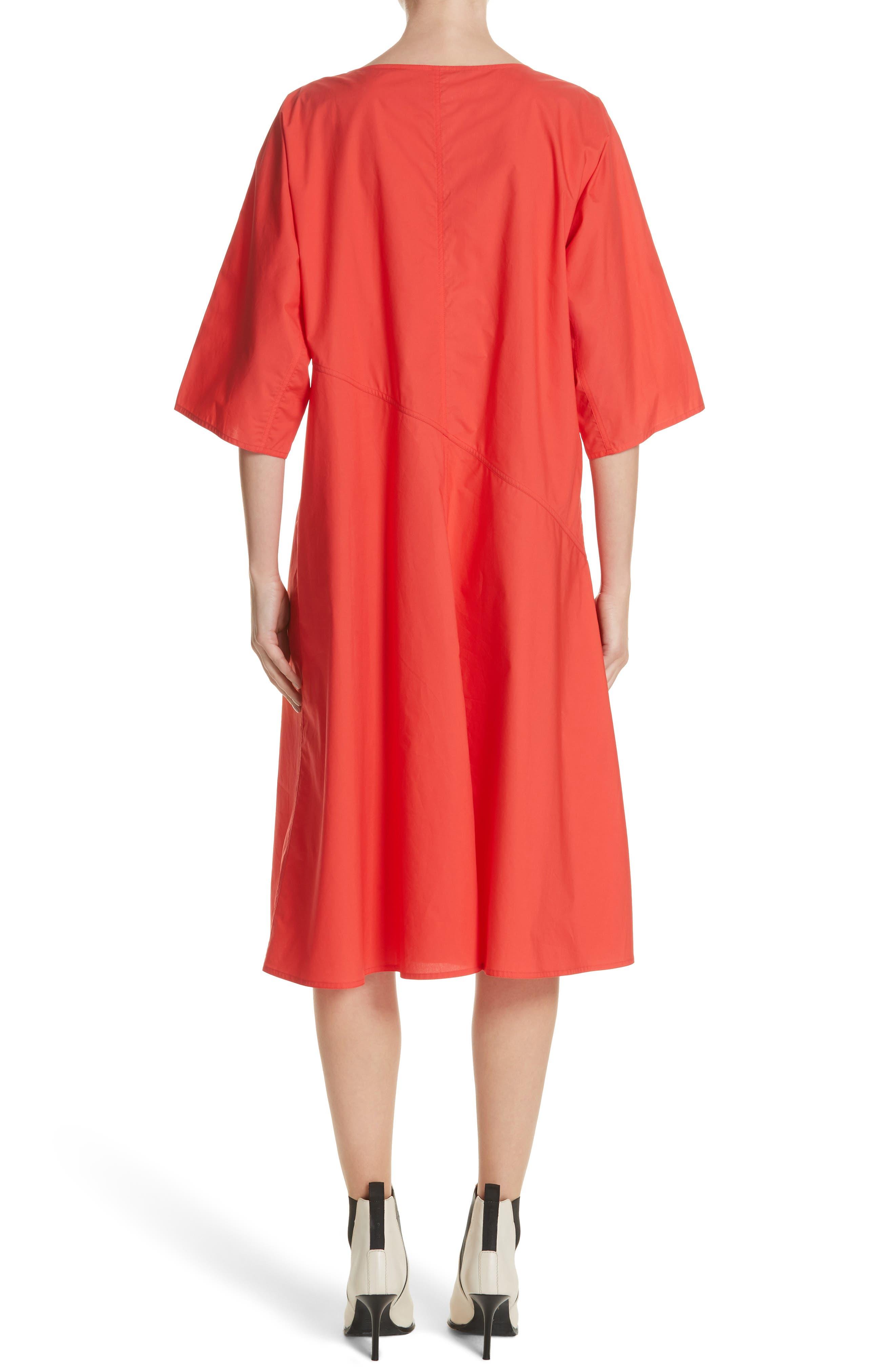 Diagonal Waist Dress,                             Alternate thumbnail 2, color,                             Poppy