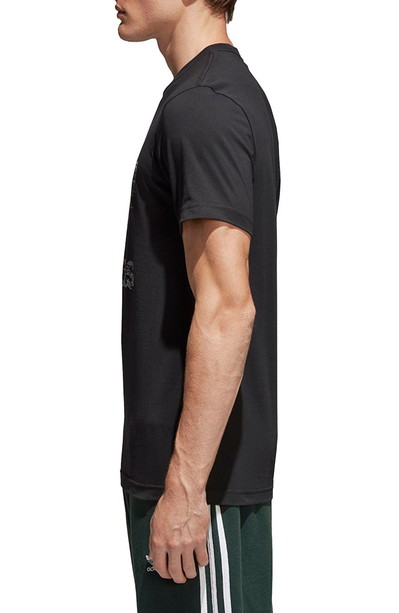 Traction Trefoil Graphic T-Shirt,                             Alternate thumbnail 3, color,                             Black