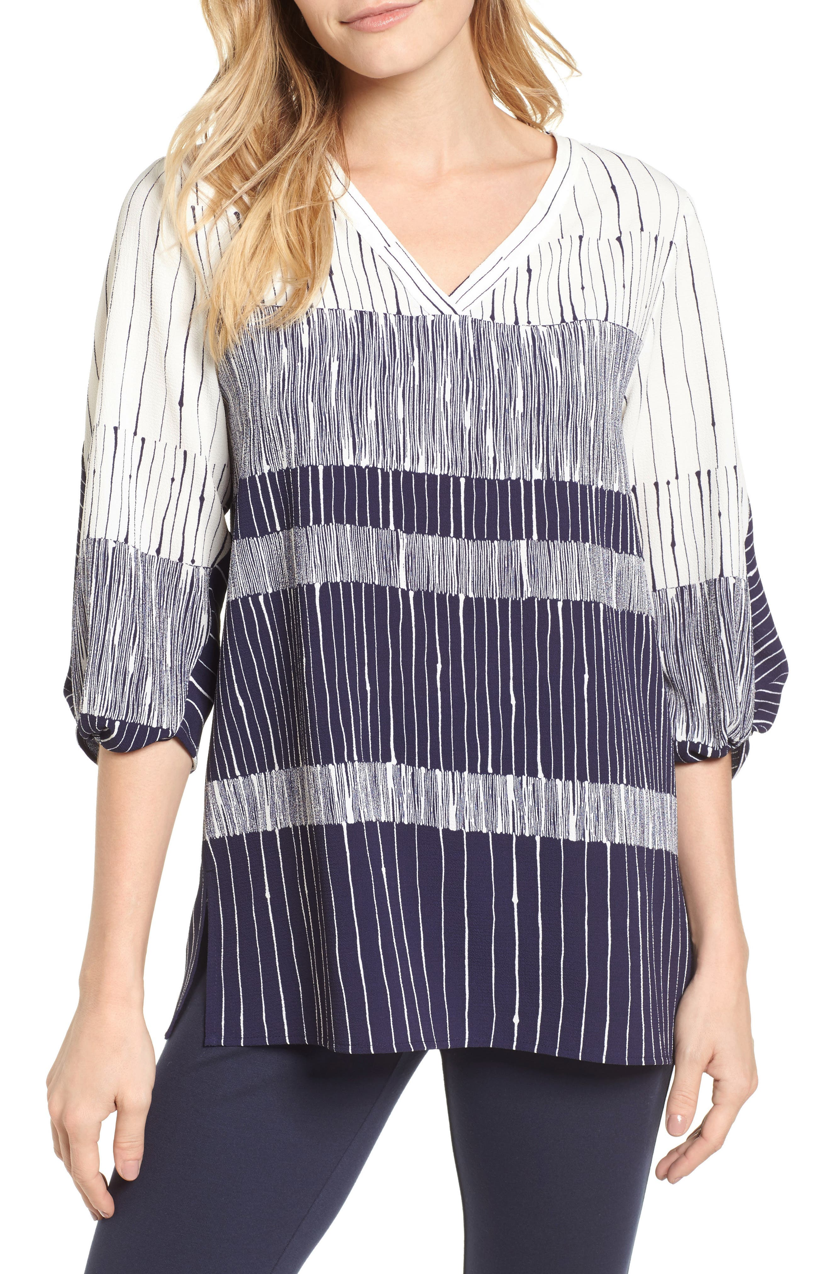 Ink Lines Blouse,                         Main,                         color, 529-Evening Navy