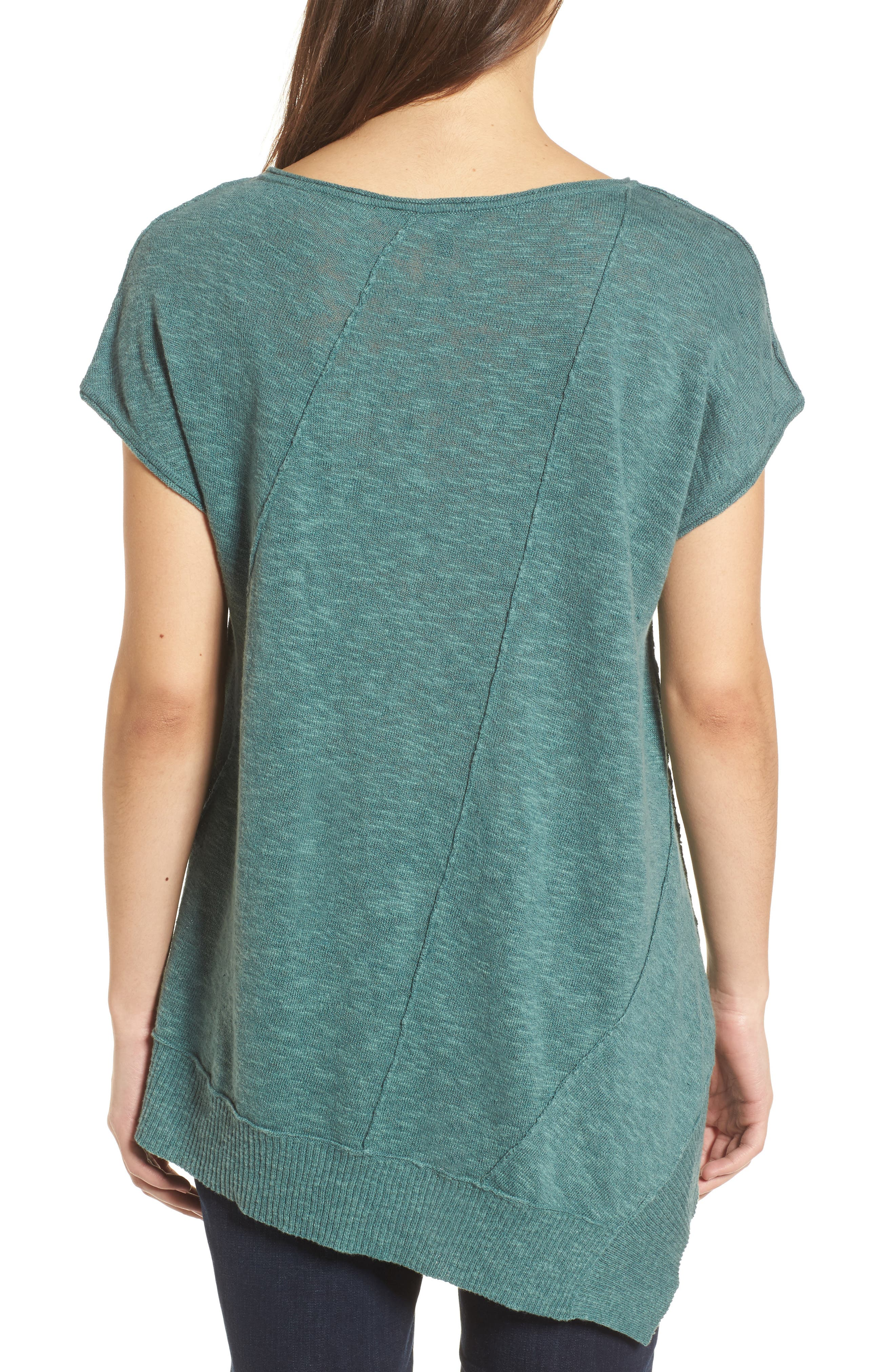 Cap Sleeve Organic Linen & Cotton Scoop Neck Top,                             Alternate thumbnail 2, color,                             Teal