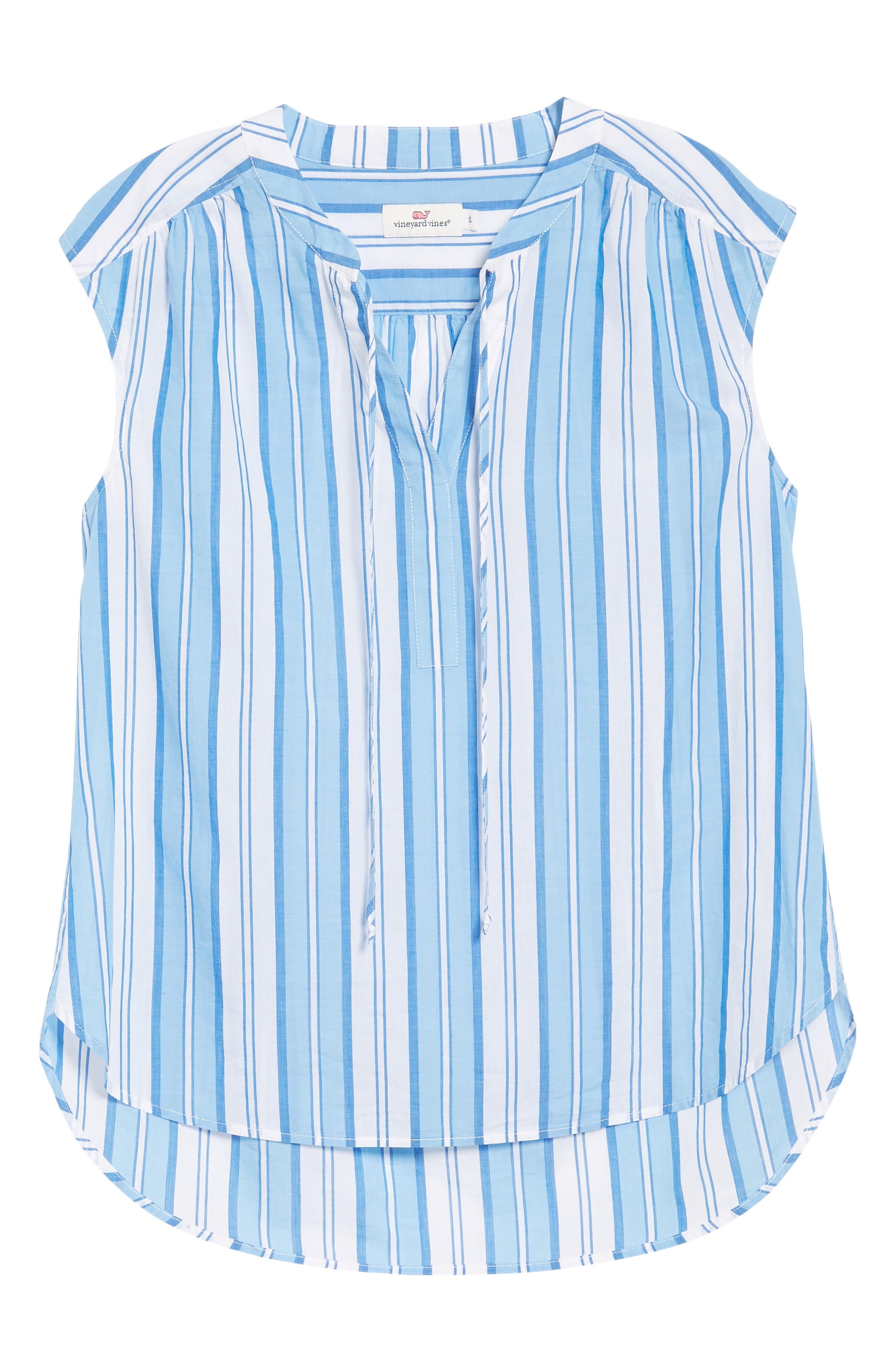 Ocean Stripe Cap Sleeve Popover Top,                             Alternate thumbnail 6, color,                             Blue Jay
