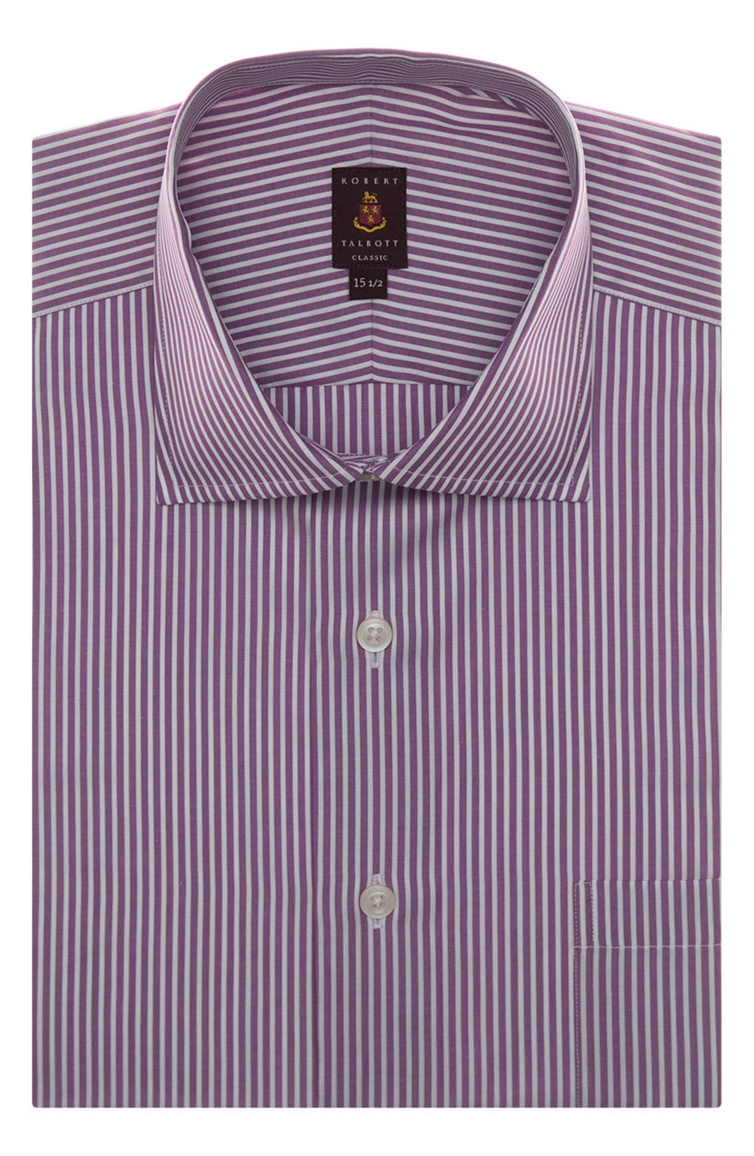 Tailored Fit Stripe Dress Shirt,                         Main,                         color, Plum