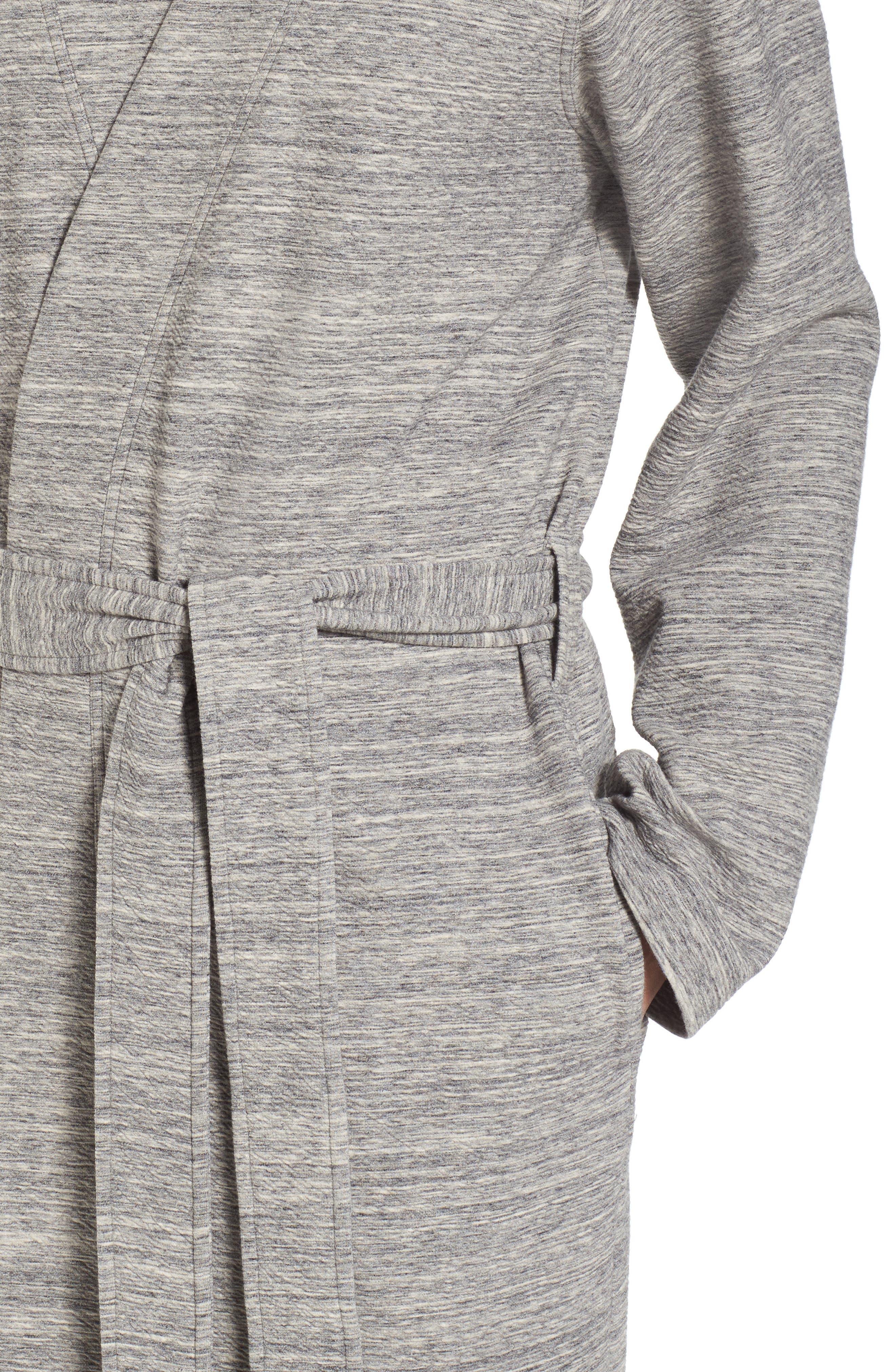 Kent Cotton Blend Robe,                             Alternate thumbnail 4, color,                             Black Heather