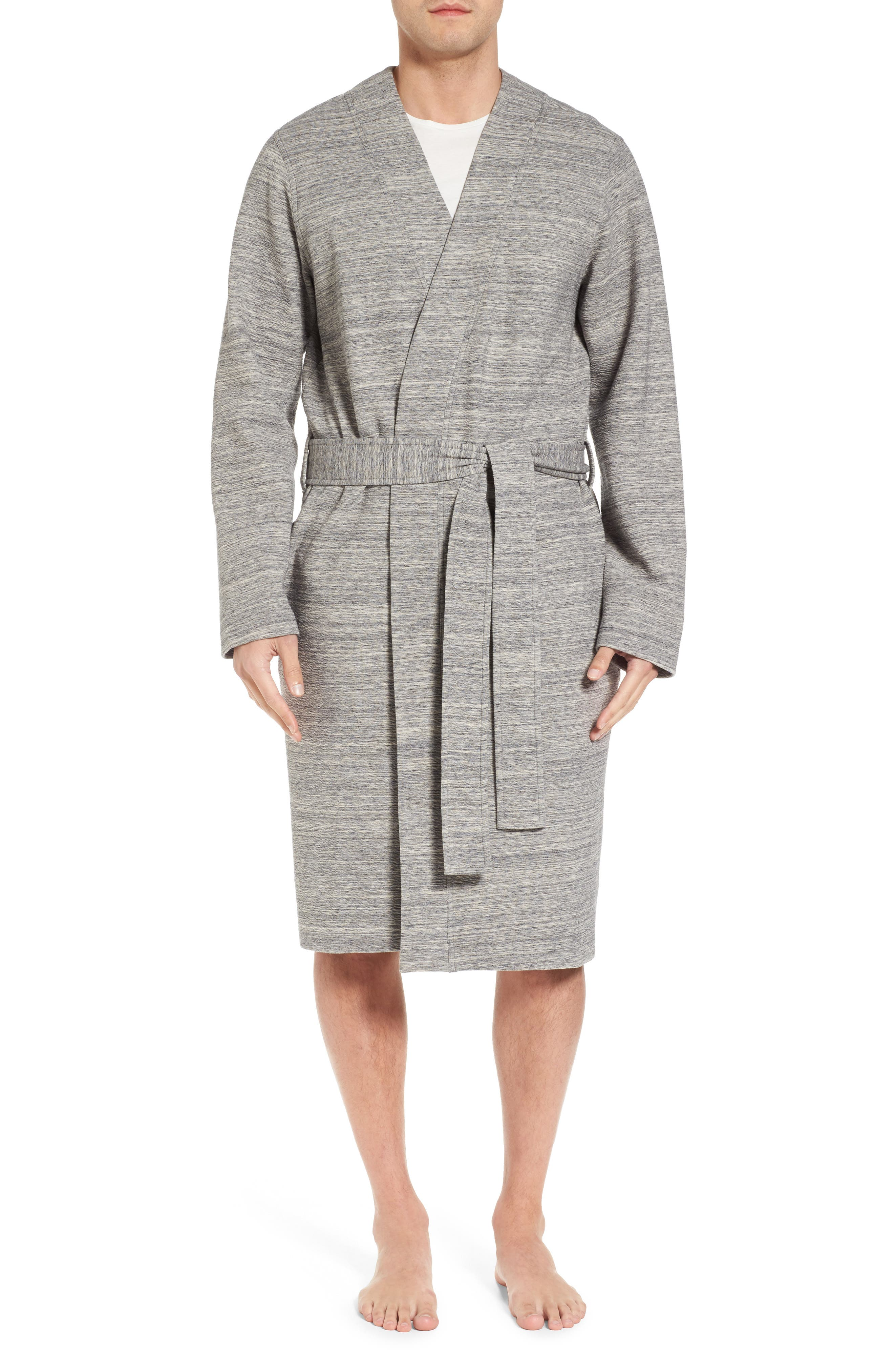 Kent Cotton Blend Robe,                             Main thumbnail 1, color,                             Black Heather