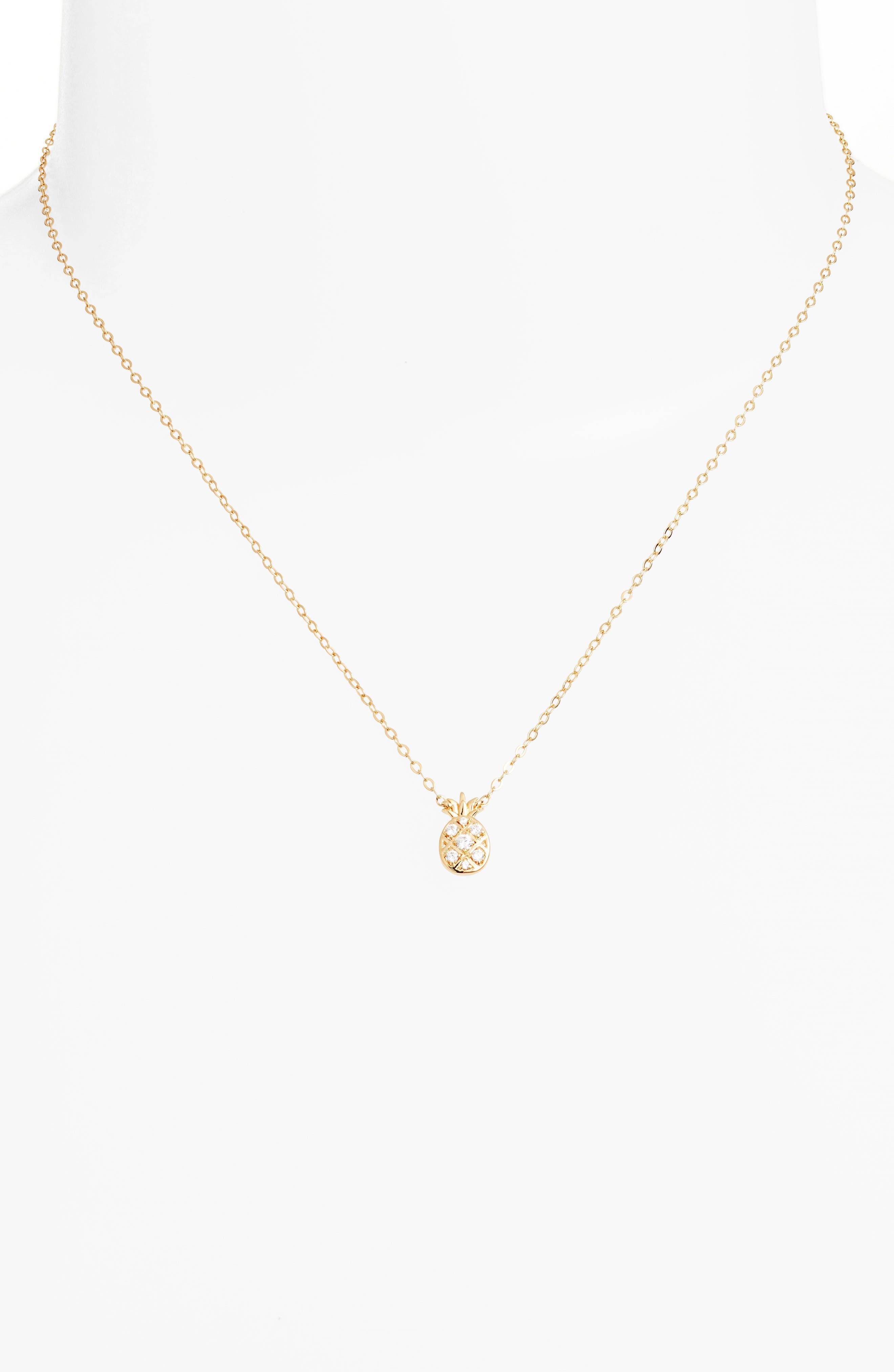 Reminisce Cubic Zirconia Pineapple Pendant Necklace,                             Alternate thumbnail 2, color,                             Gold