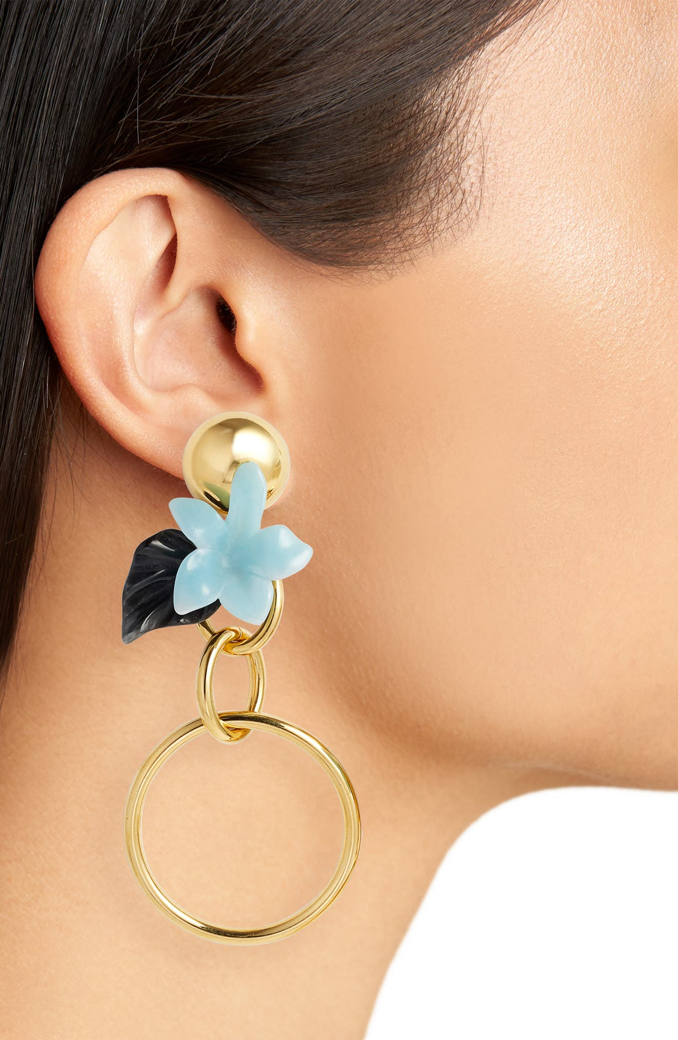 Hibiscus Golden Hoop Drop Earrings,                             Alternate thumbnail 2, color,                             Sky Blue