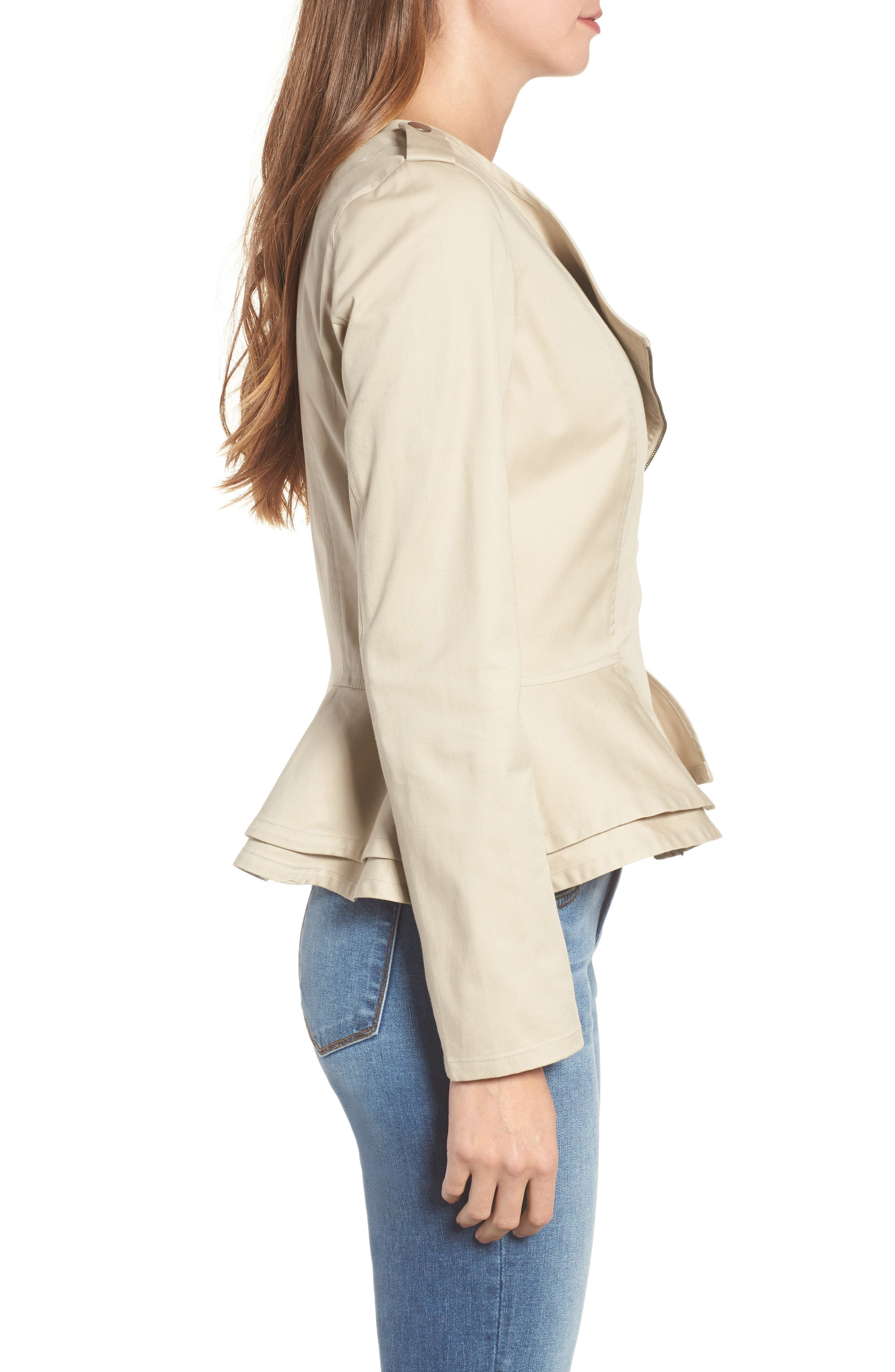 Asymmetrical Zip Peplum Jacket,                             Alternate thumbnail 3, color,                             Tan Oxford