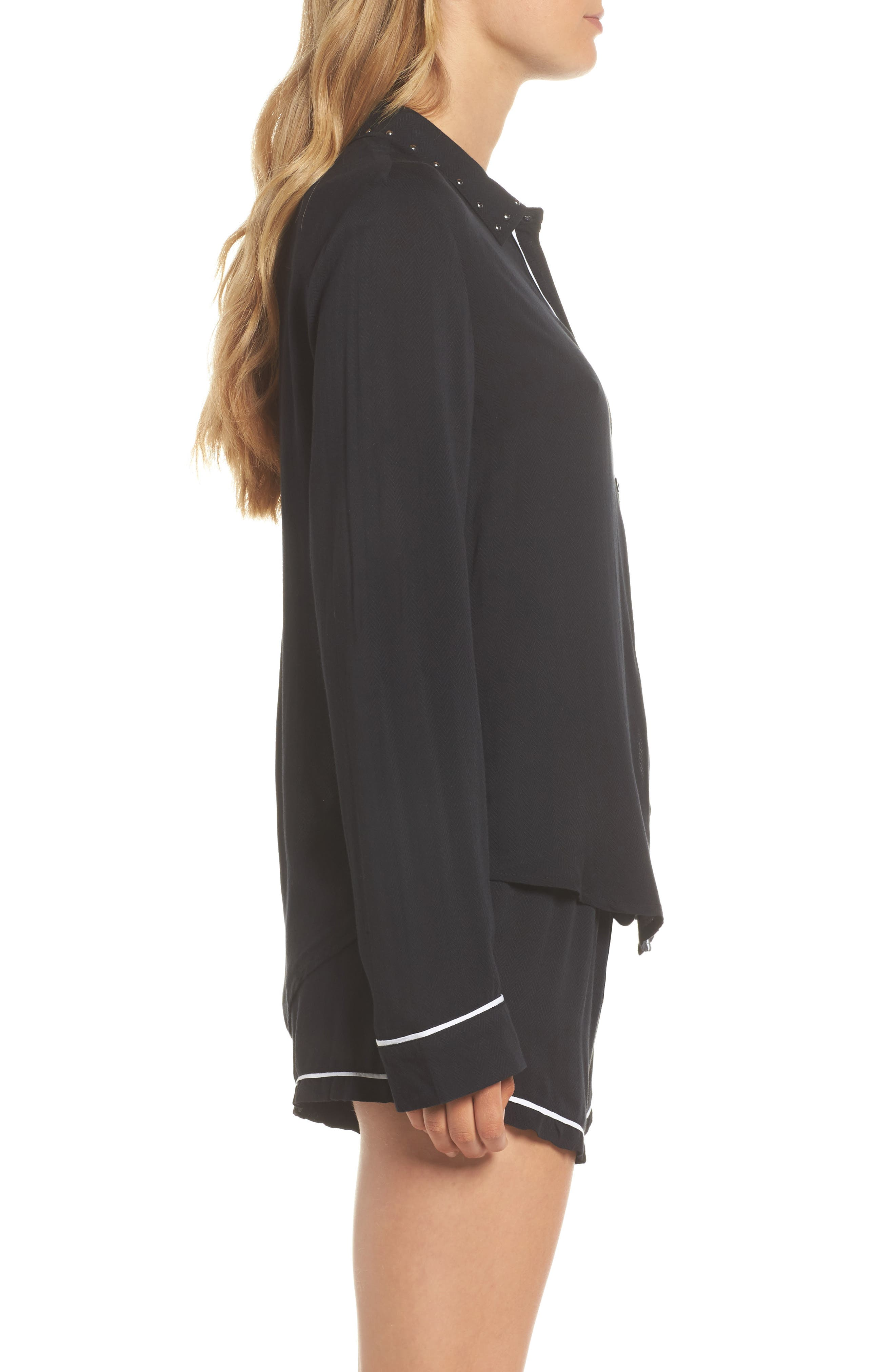 Short Pajamas,                             Alternate thumbnail 3, color,                             Black