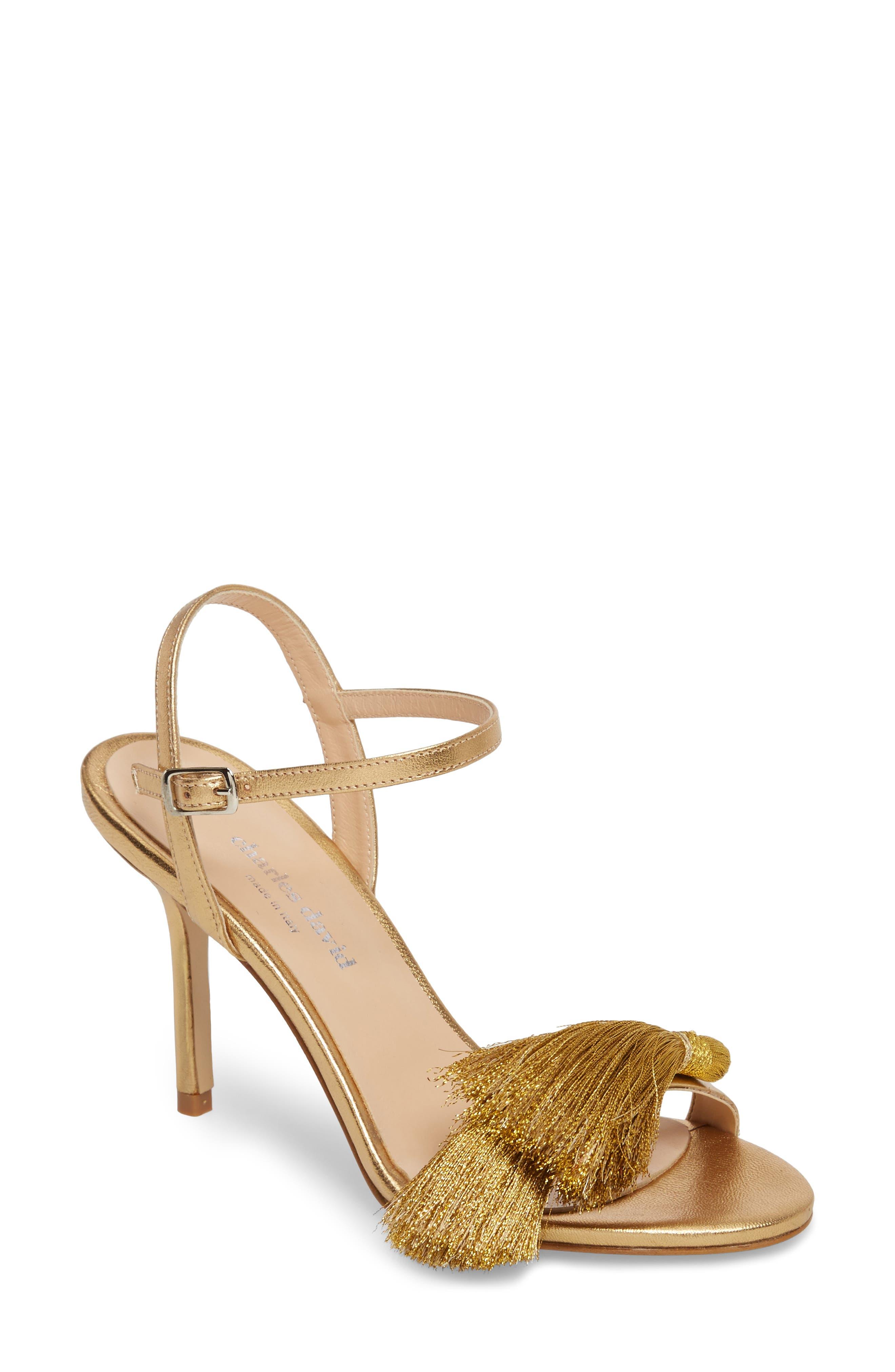Sassy Tassel Sandal,                             Main thumbnail 1, color,                             Gold Leather