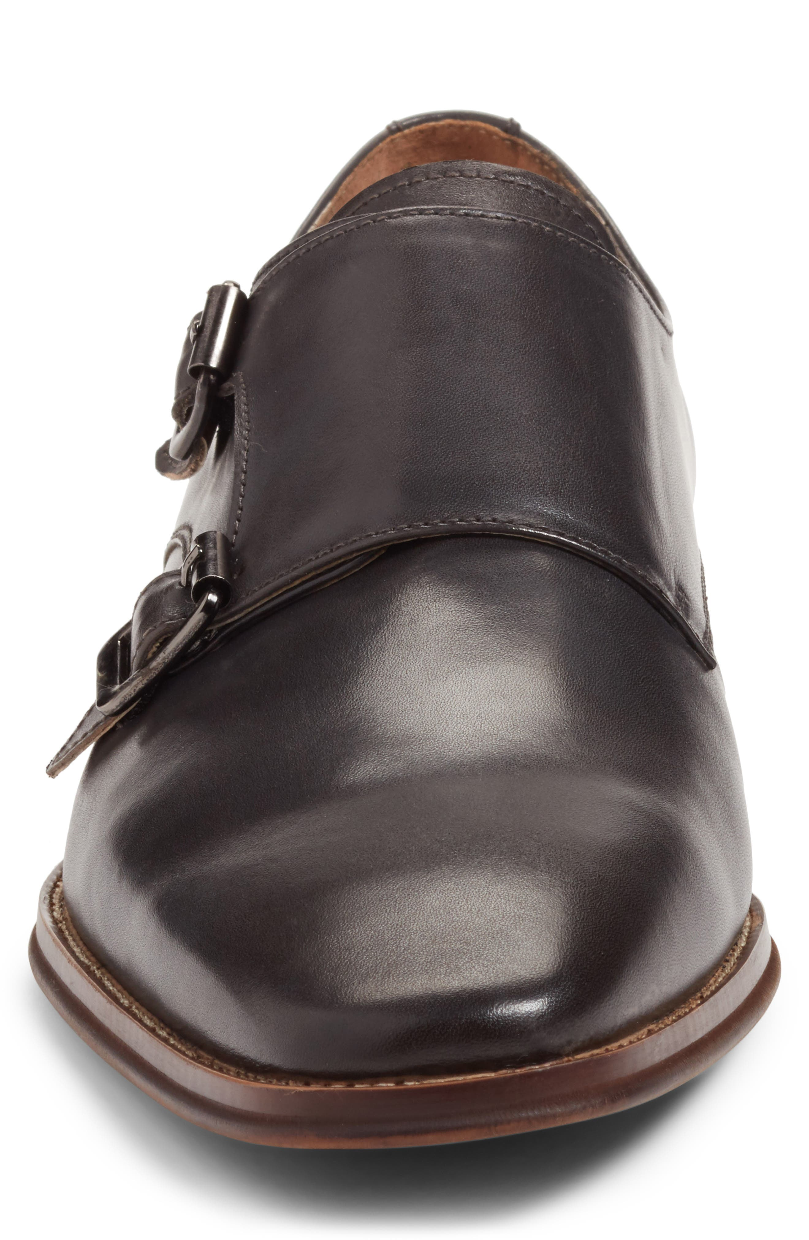 Sedona Double Strap Monk Shoe,                             Alternate thumbnail 4, color,                             Grey Leather
