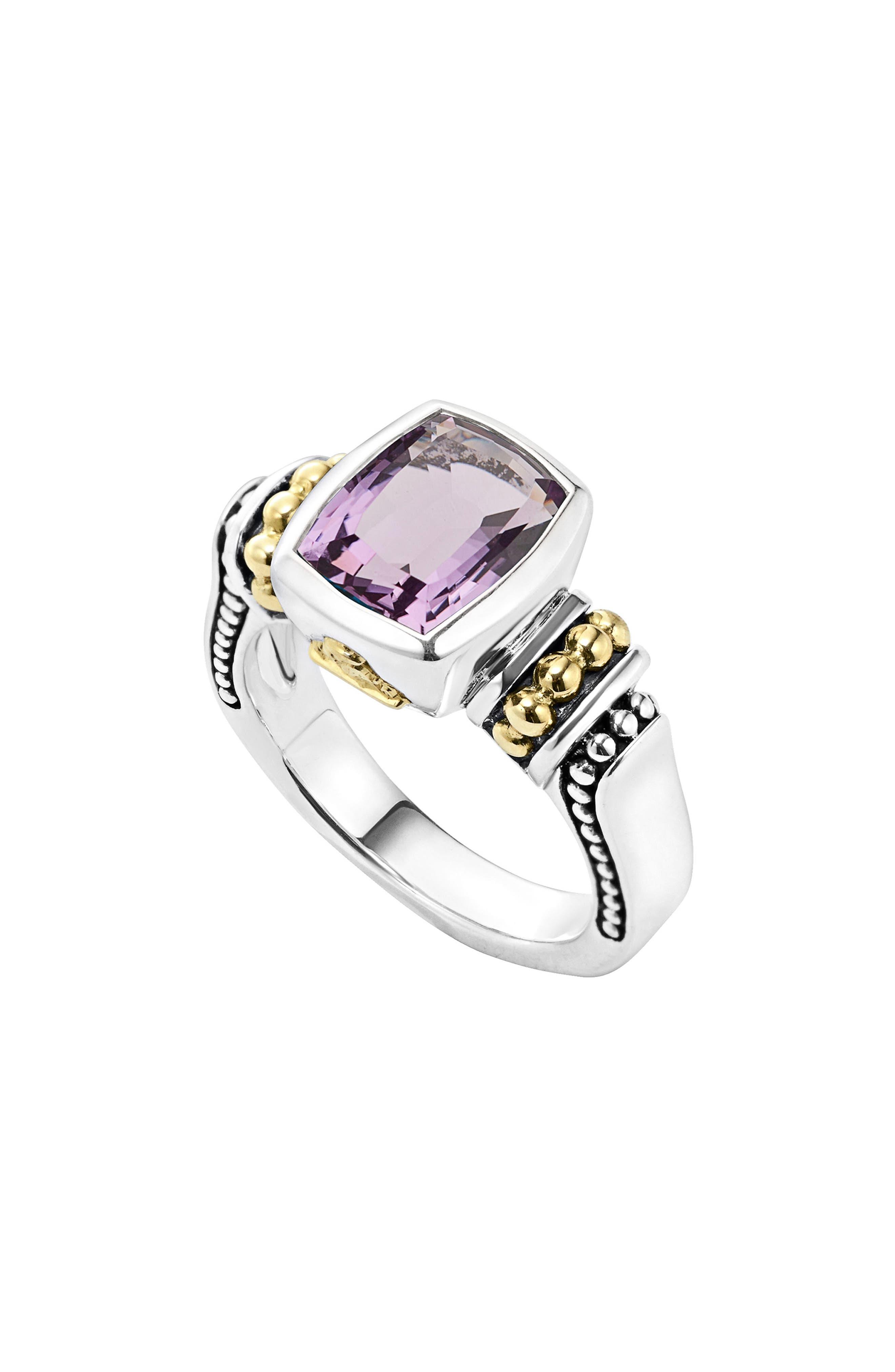 'Caviar Color' Small Semiprecious Stone Ring,                         Main,                         color, Amethyst