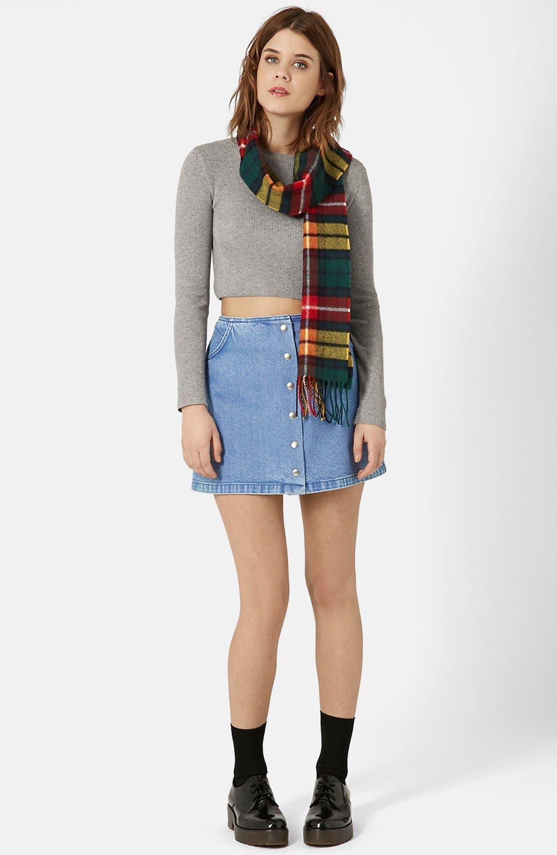 Alternate Image 3  - Topshop Moto Snap Front Denim Skirt (Brit Pop-In)