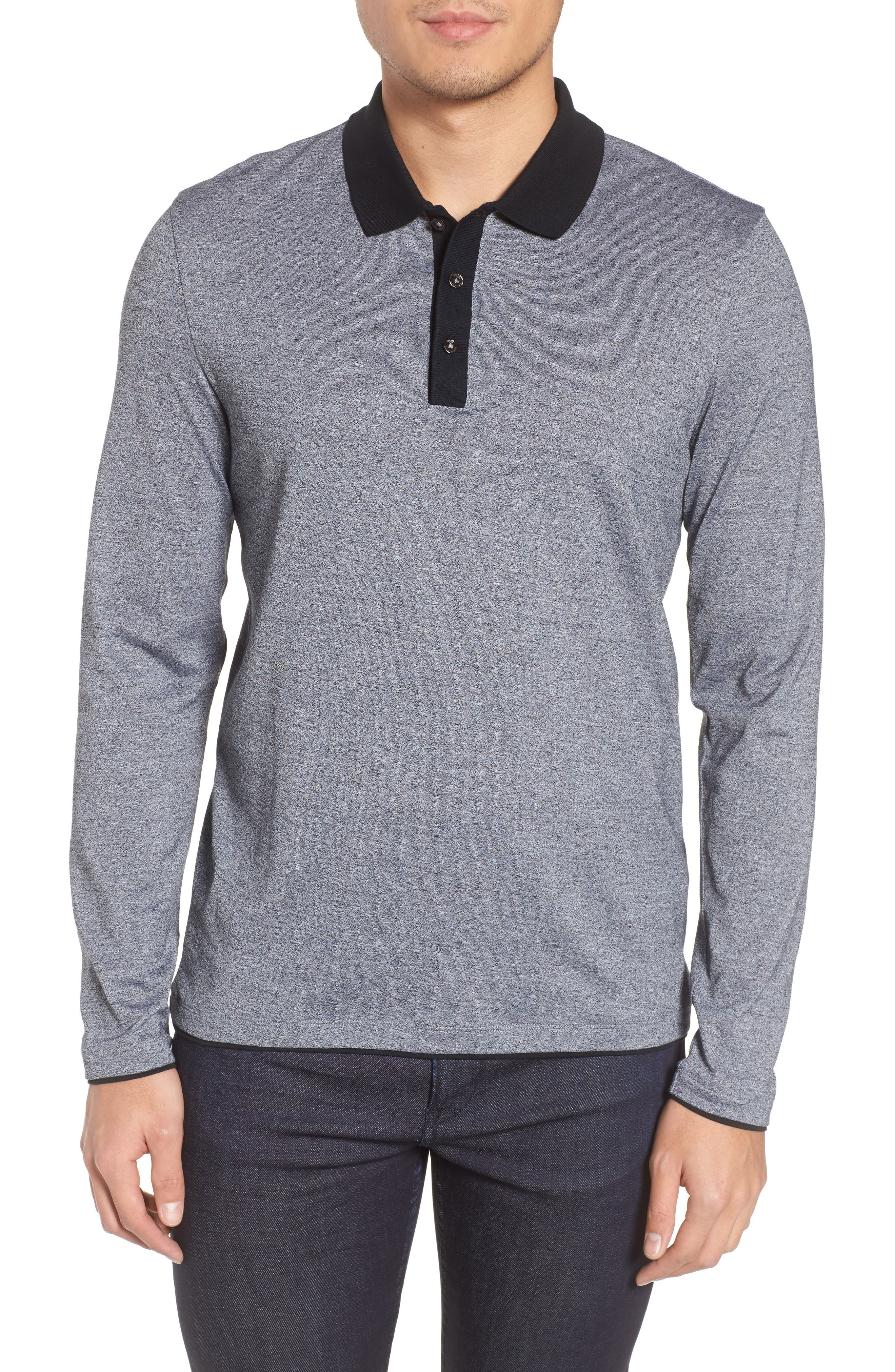 Paschal Mouline Slim Fit Polo Shirt,                         Main,                         color, Black