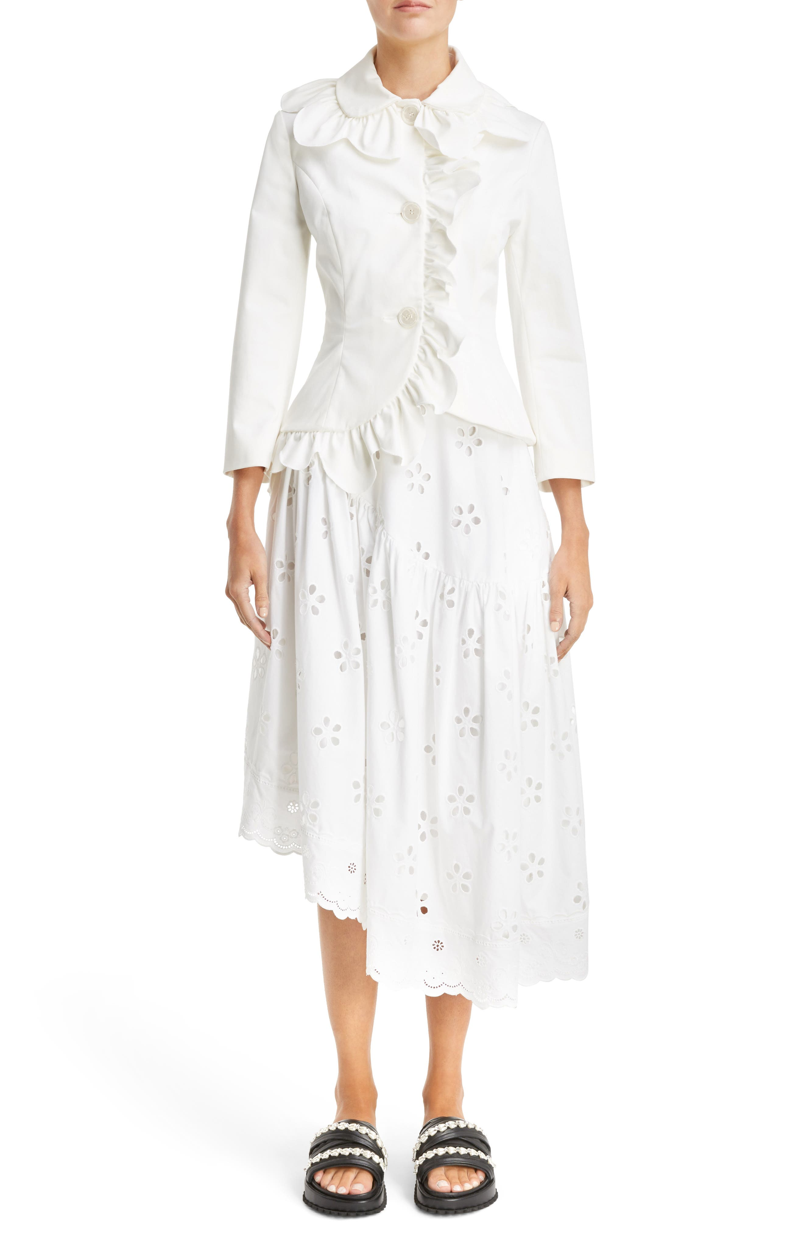 Scallop Frill Fitted Jacket,                             Alternate thumbnail 6, color,                             Ivory