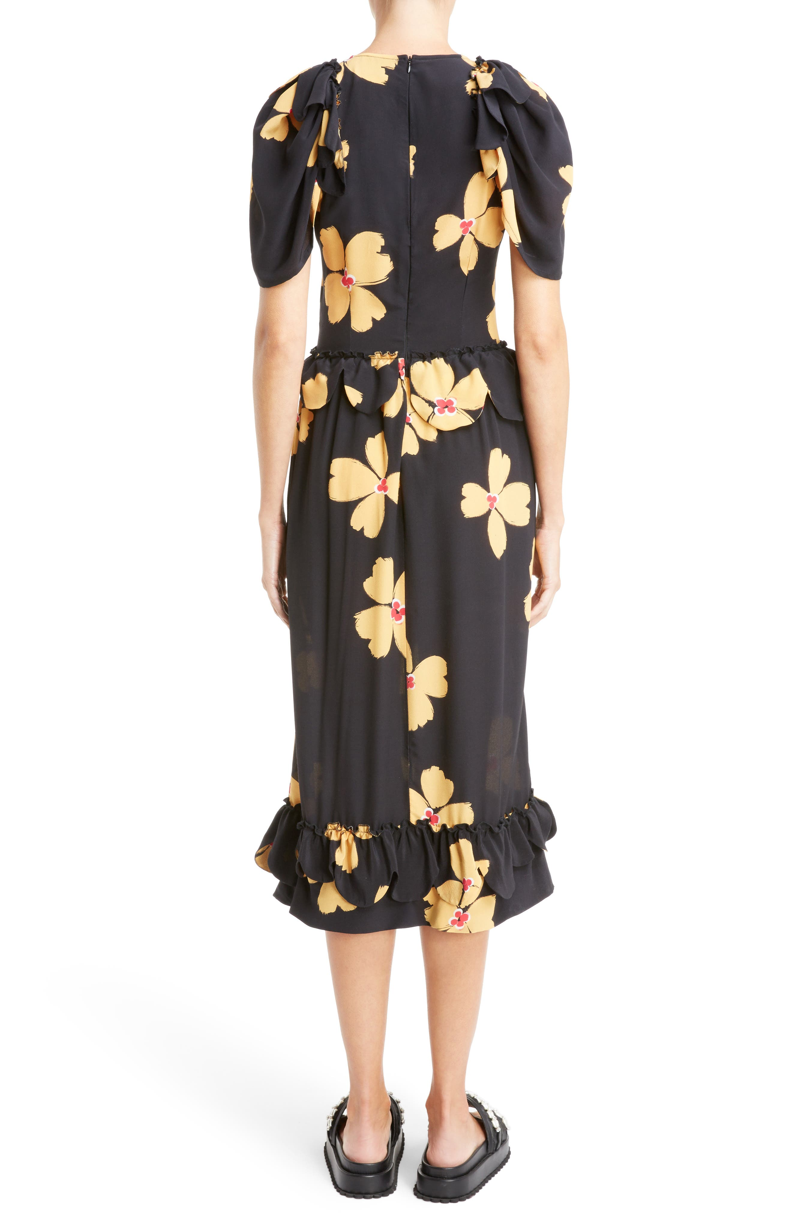 Scallop Trim Floral Silk Dress,                             Alternate thumbnail 2, color,                             Black Clementine