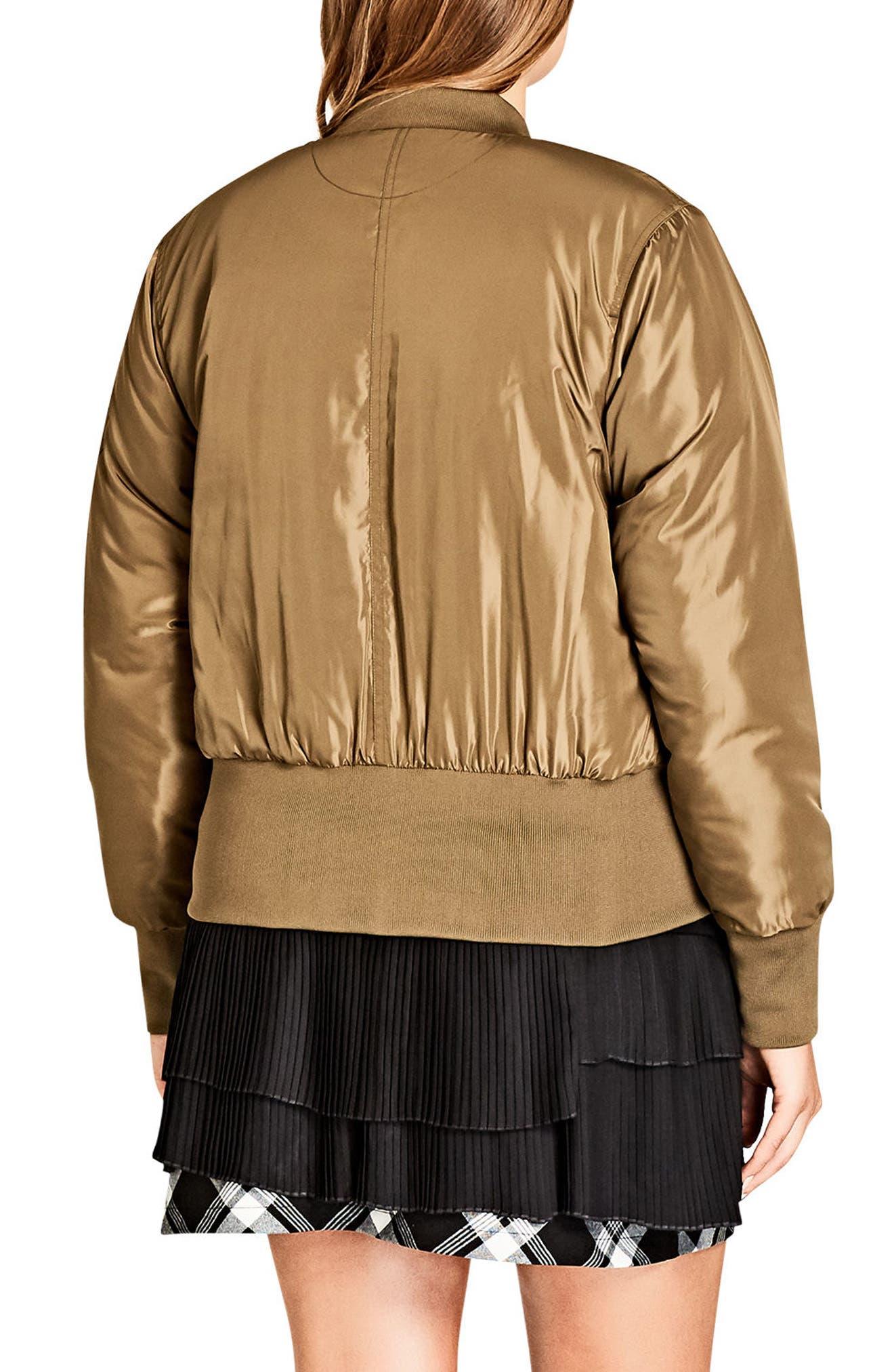 Metallic Bomber Jacket,                             Alternate thumbnail 3, color,                             Khaki