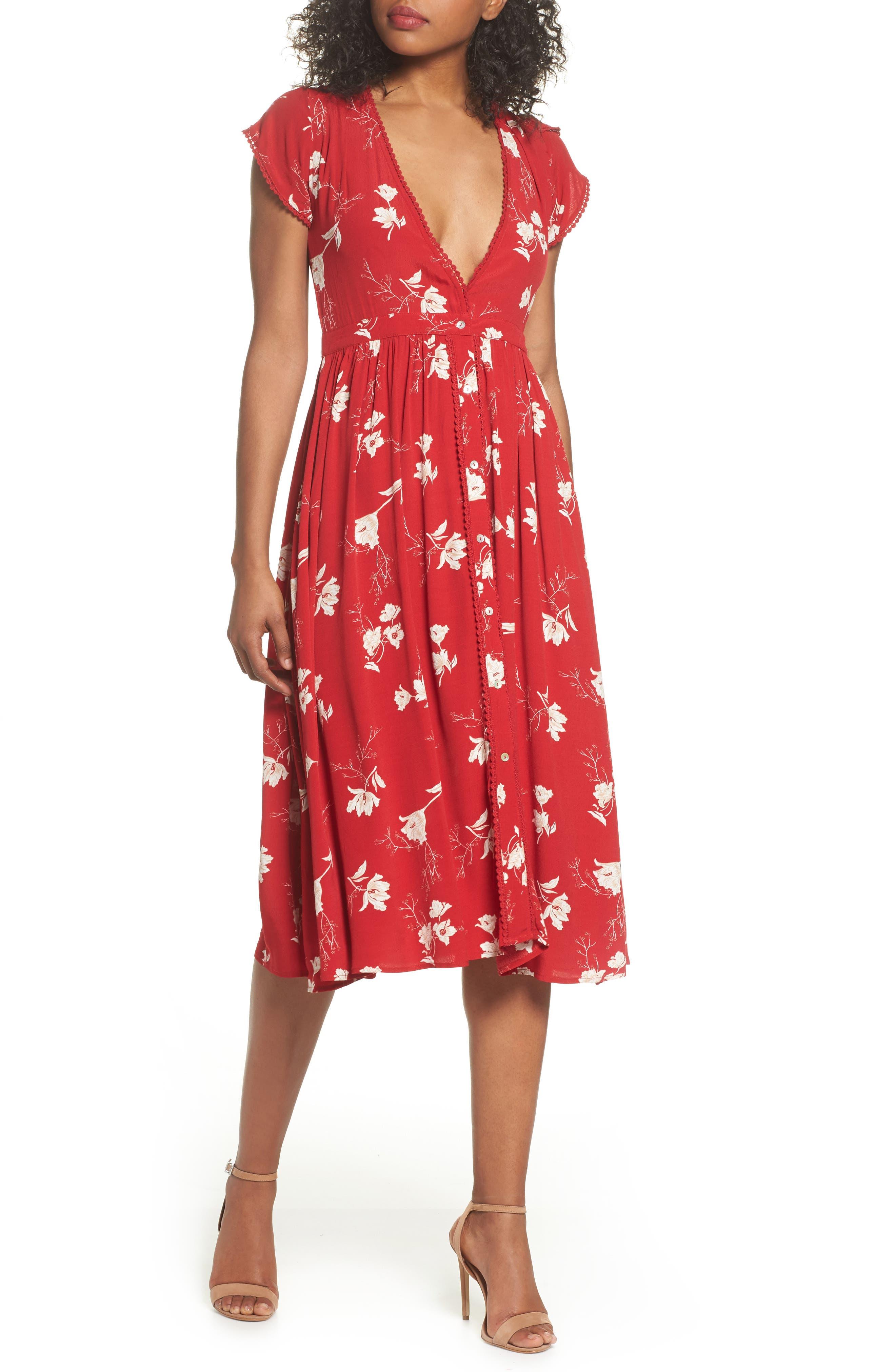 Domingo Midi Dress,                         Main,                         color, Scarlet Tulips