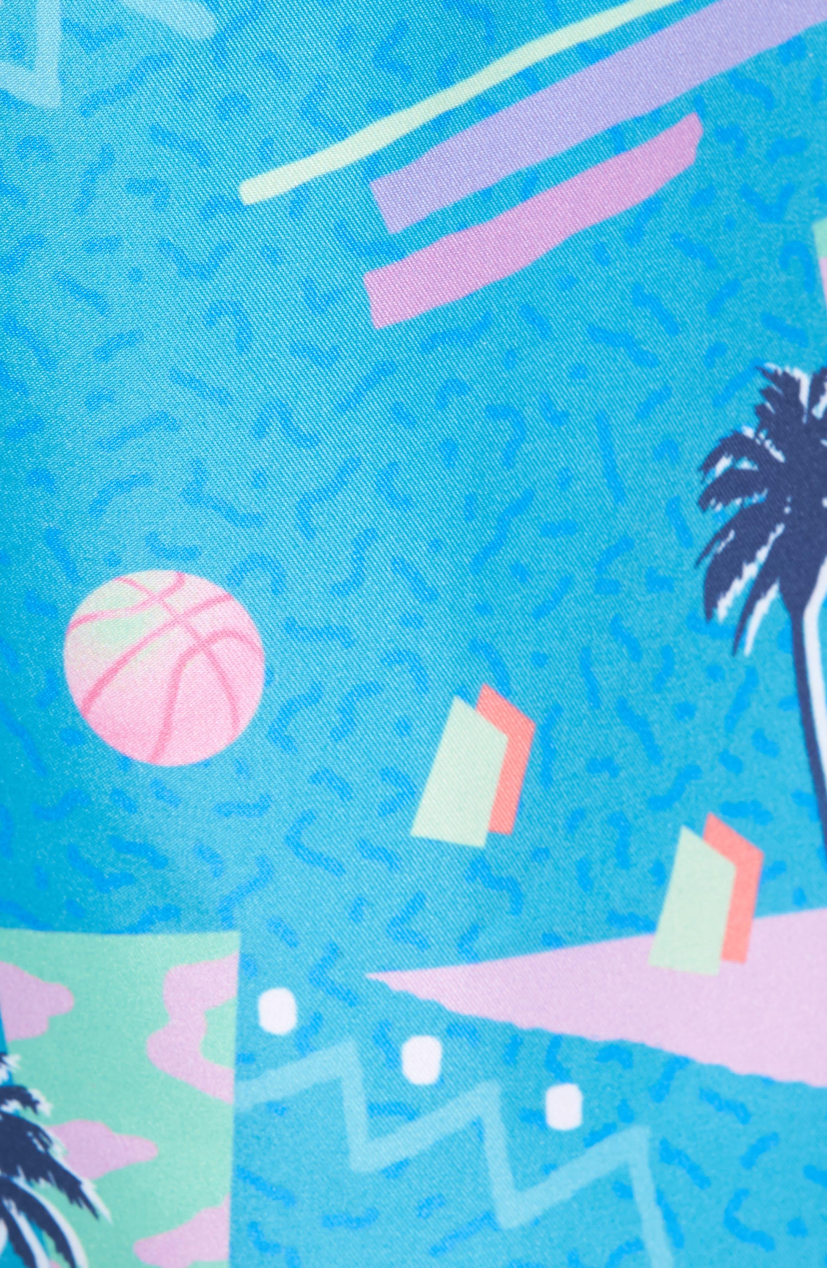 x Yoko Honda Print Swim Shorts,                             Alternate thumbnail 5, color,                             Blue
