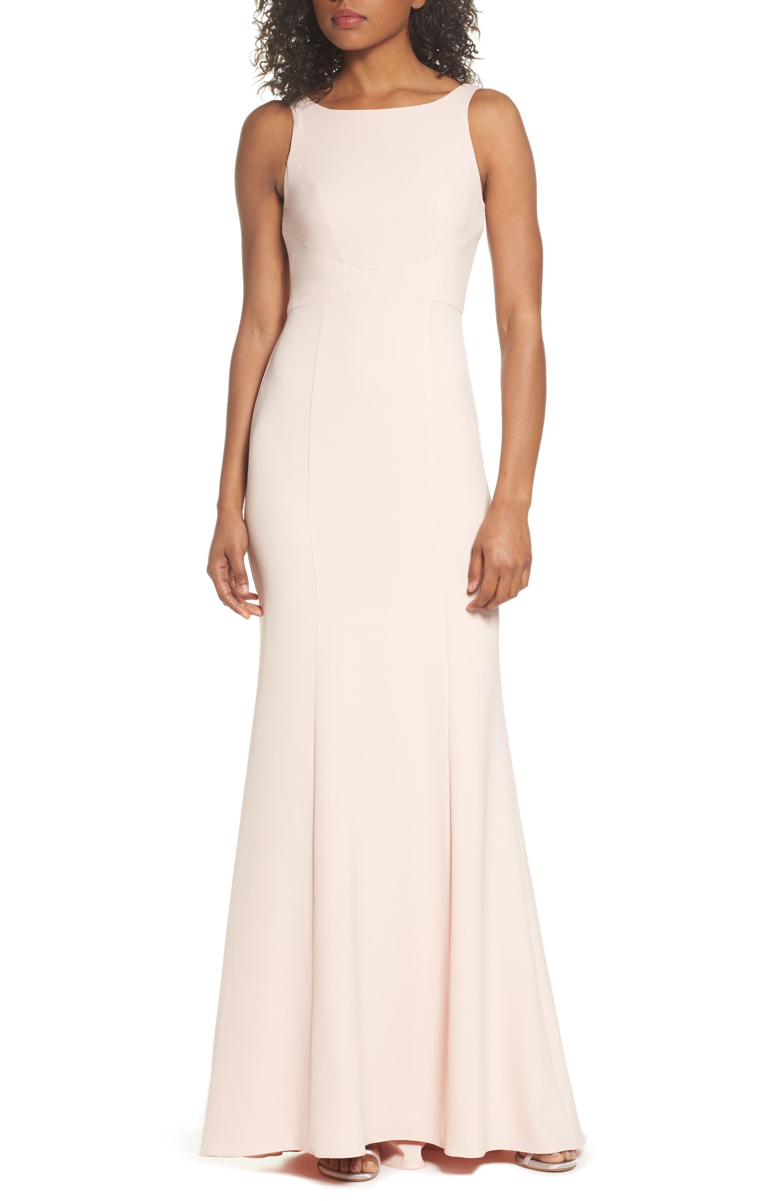 Joelle Low Back Crepe Gown,                             Main thumbnail 1, color,                             Blush