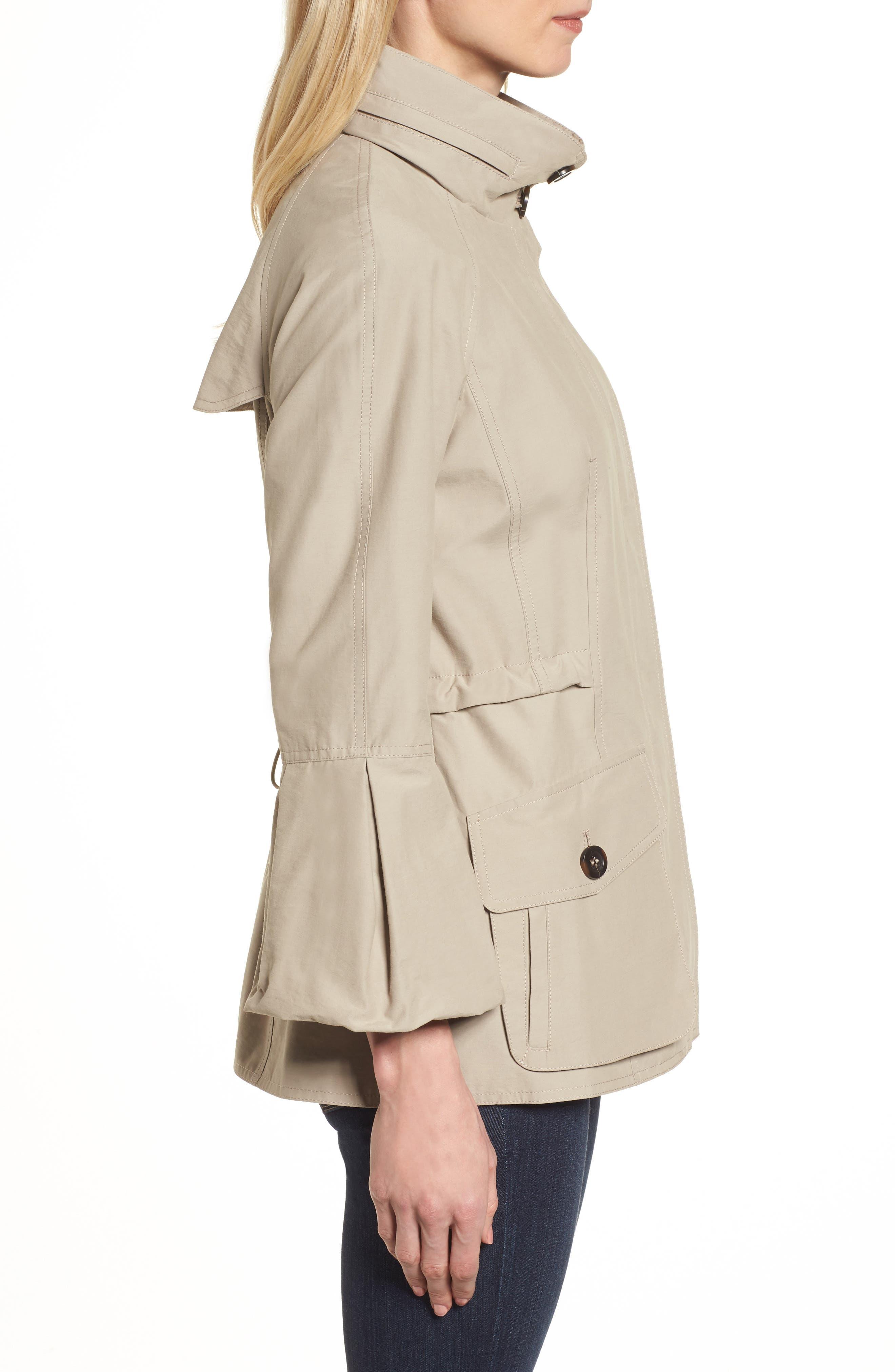 Alternate Image 3  - Gallery Bell Sleeve Jacket with Stowaway Hood