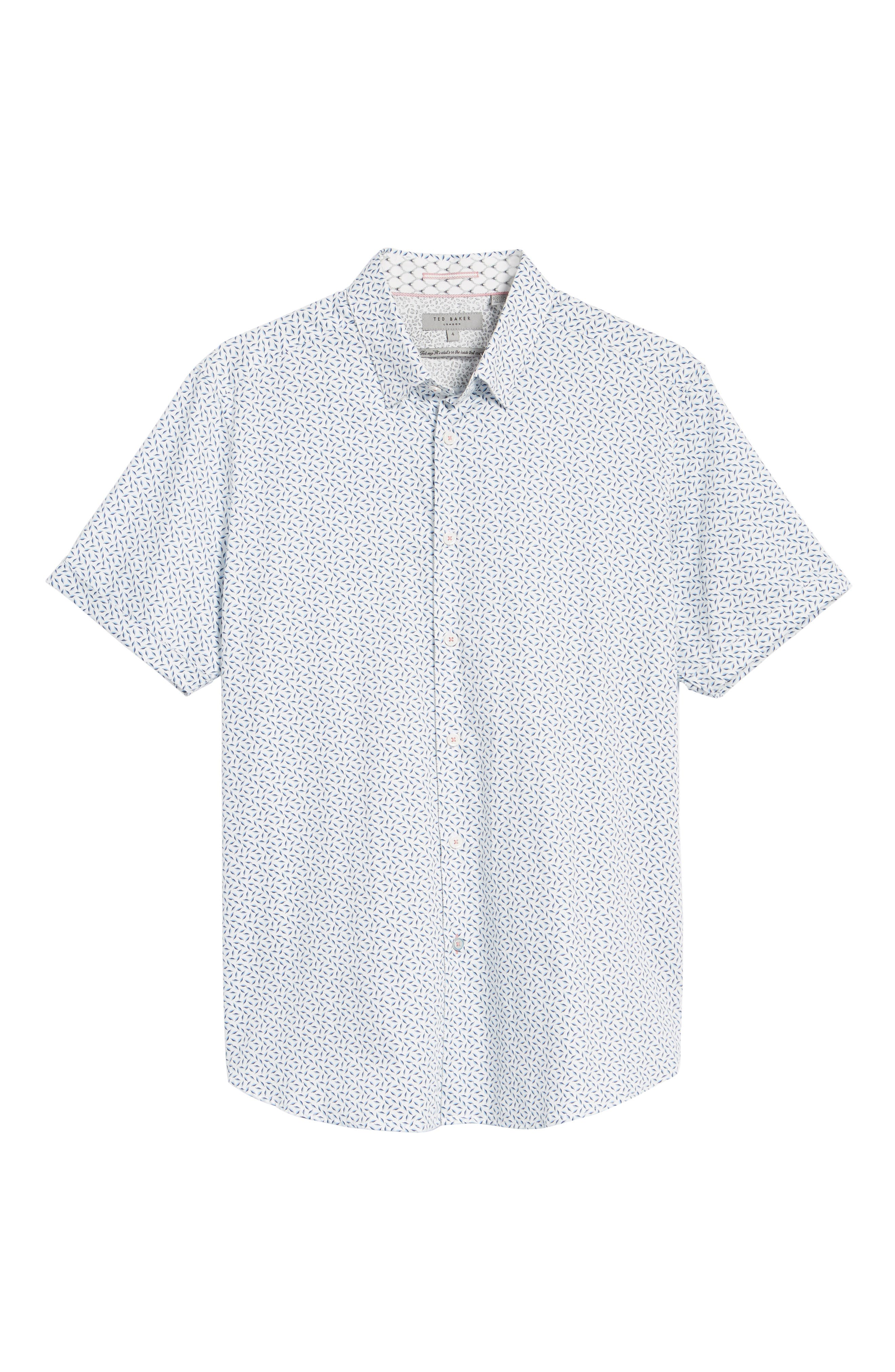 Narnar Trim Fit Geo Print Camp Shirt,                             Alternate thumbnail 6, color,                             White