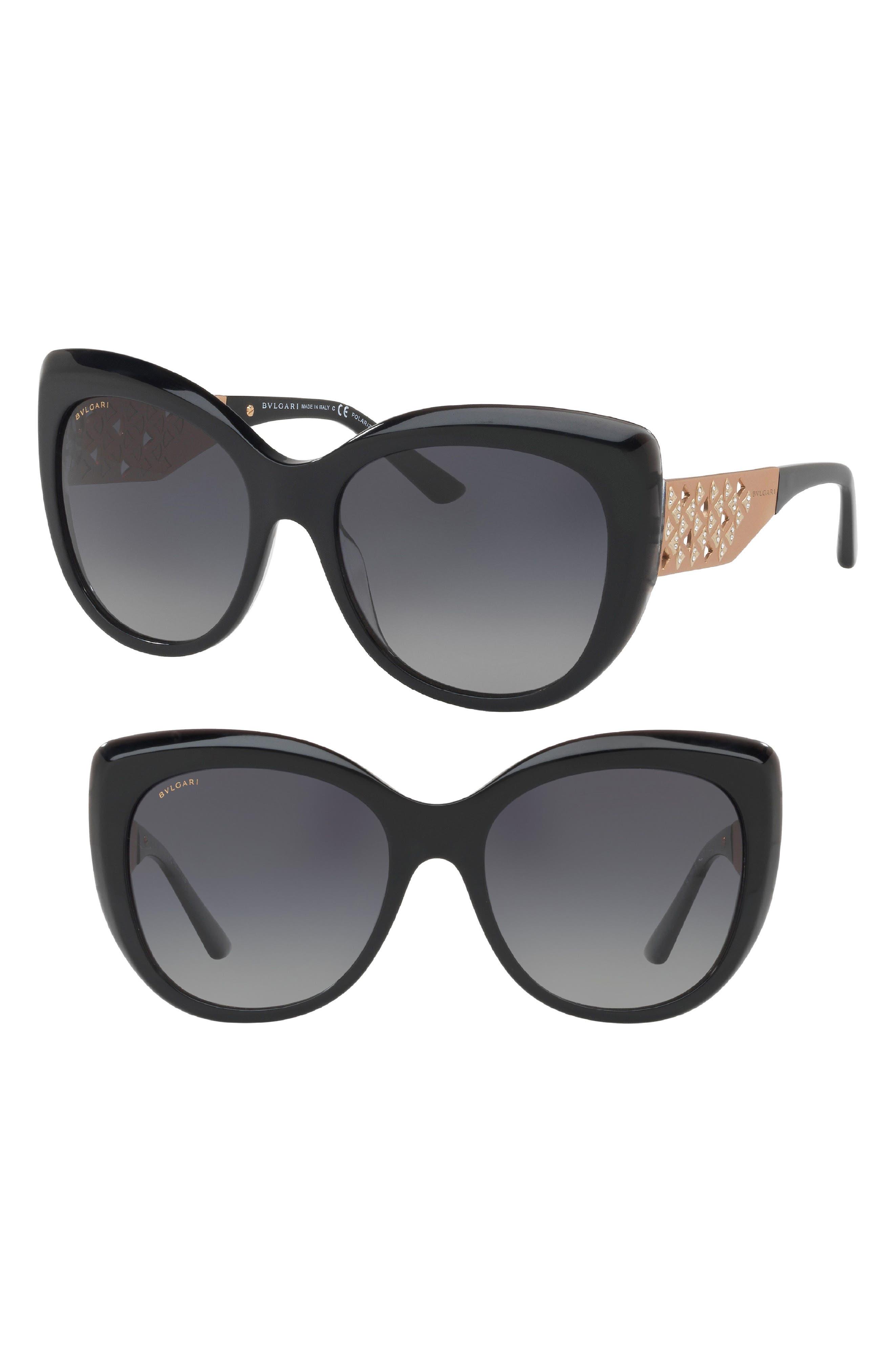 57mm Polarized Gradient Sunglasses,                             Main thumbnail 1, color,                             Black
