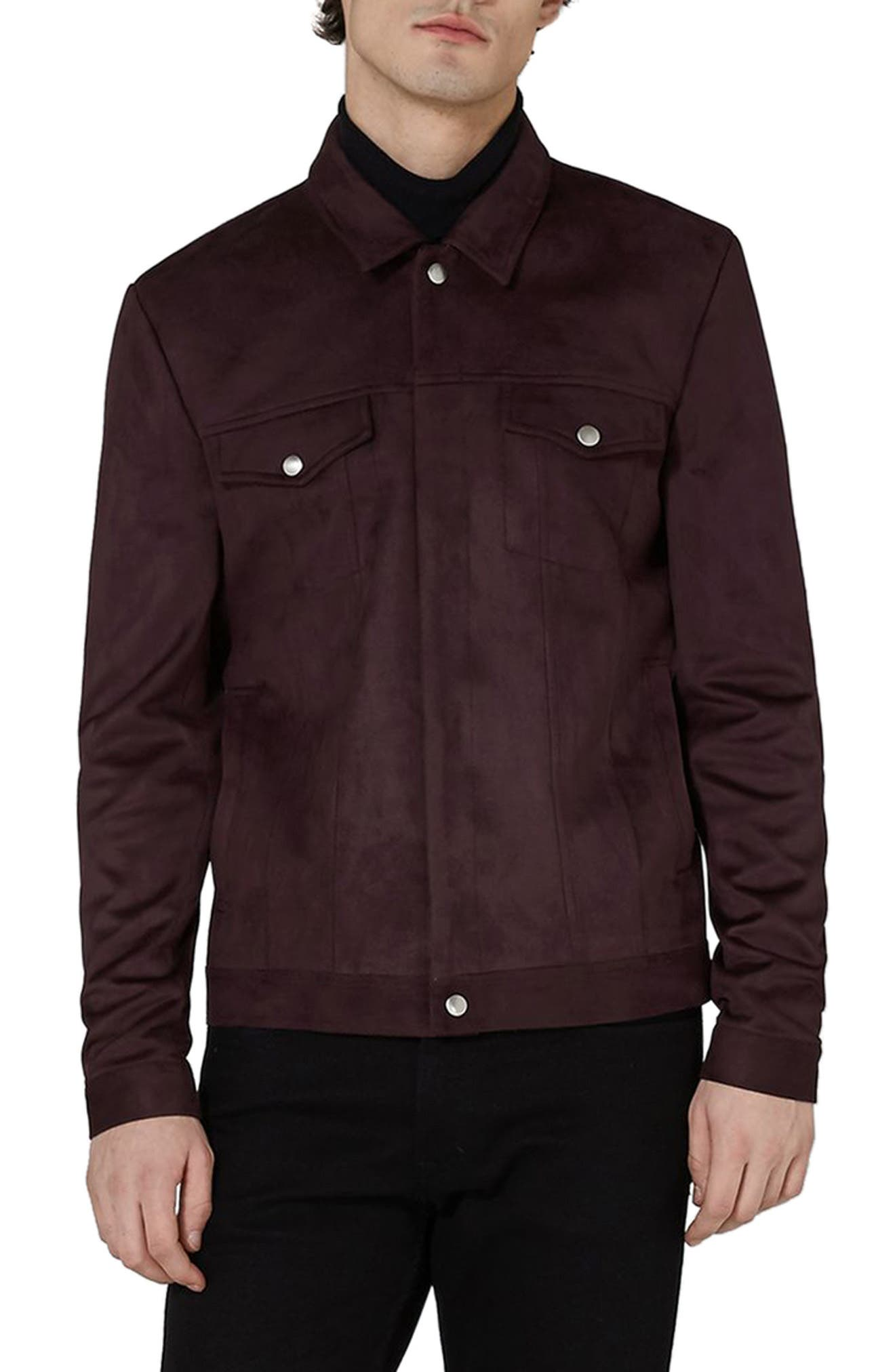 Chucky Faux Suede Western Jacket,                         Main,                         color, Burgundy