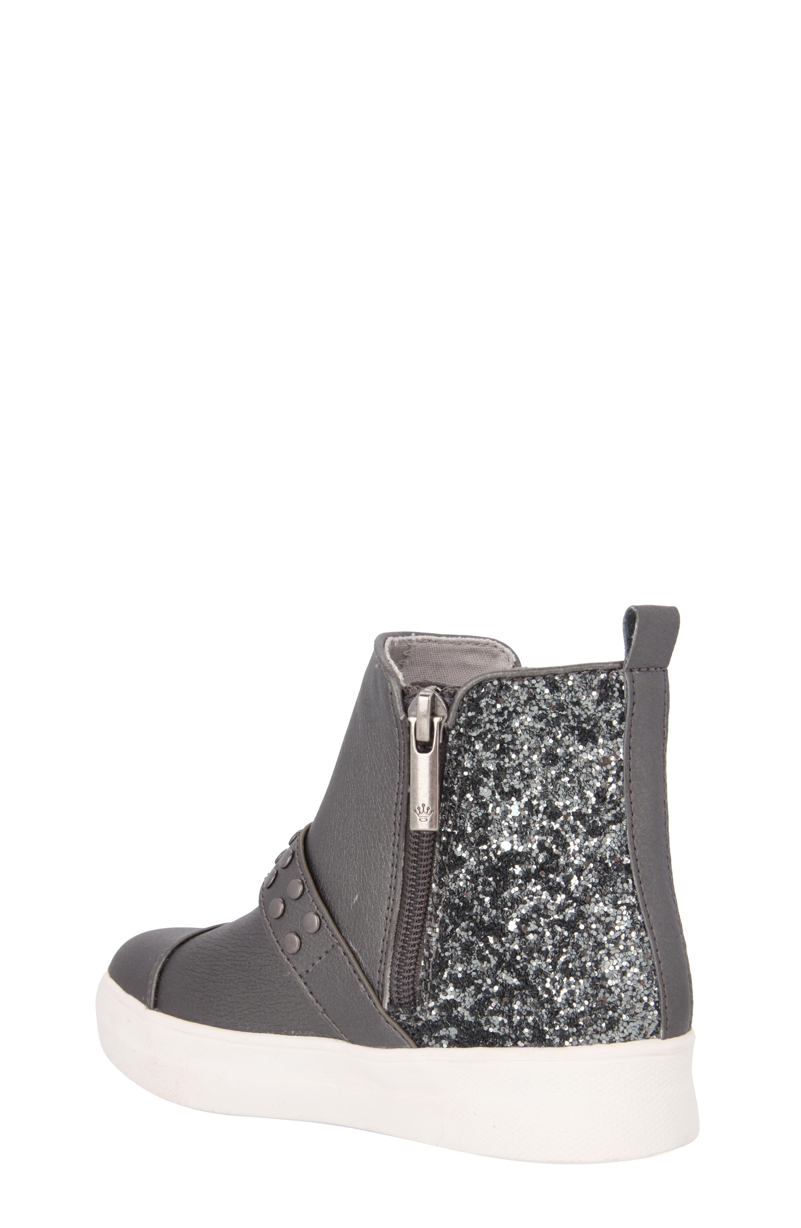 Pammela Glittery High Top Sneaker,                             Alternate thumbnail 2, color,                             Metallic Pewter