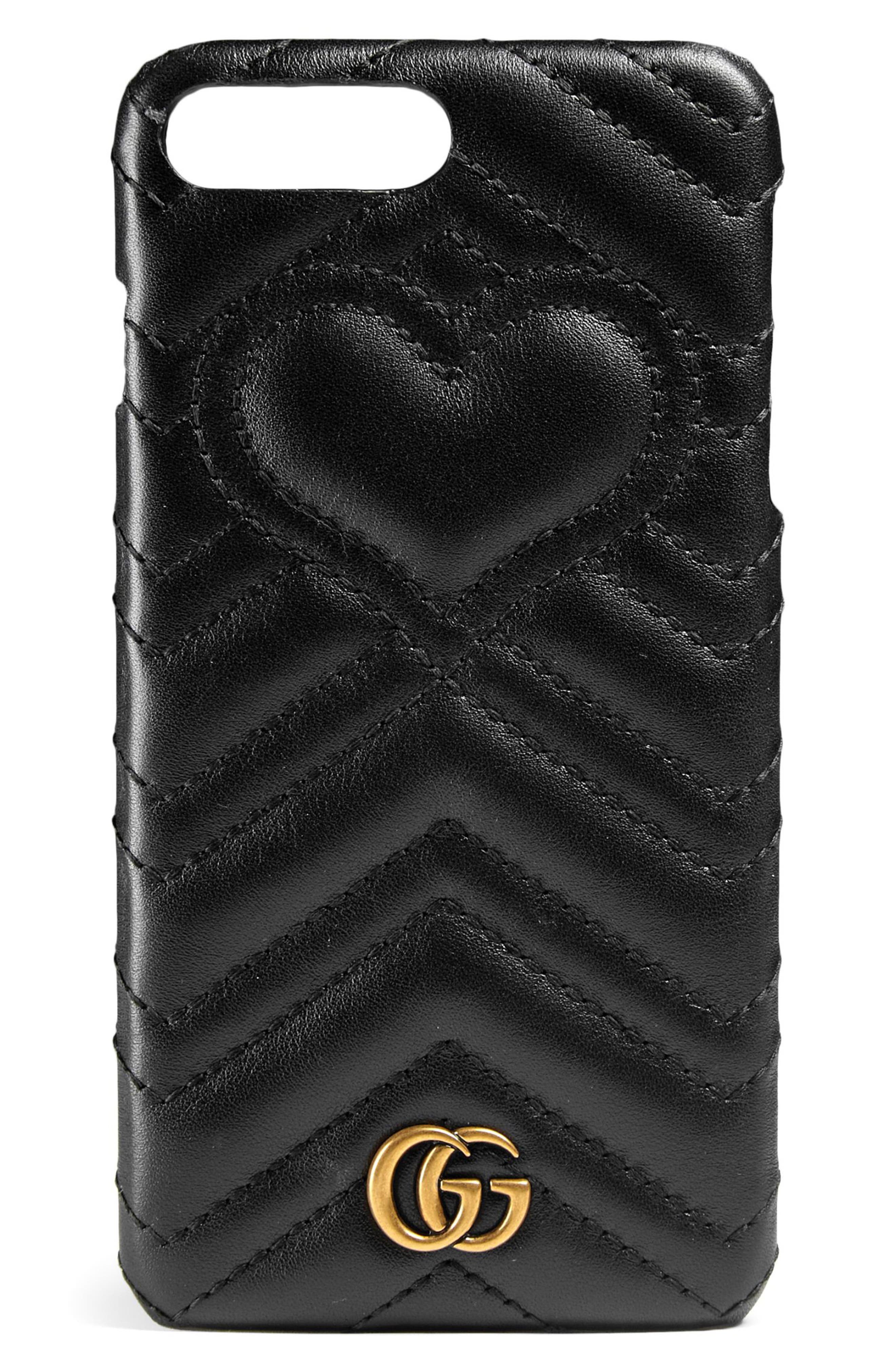 GG Marmont 2.0 iPhone 7+ Case,                         Main,                         color, Nero