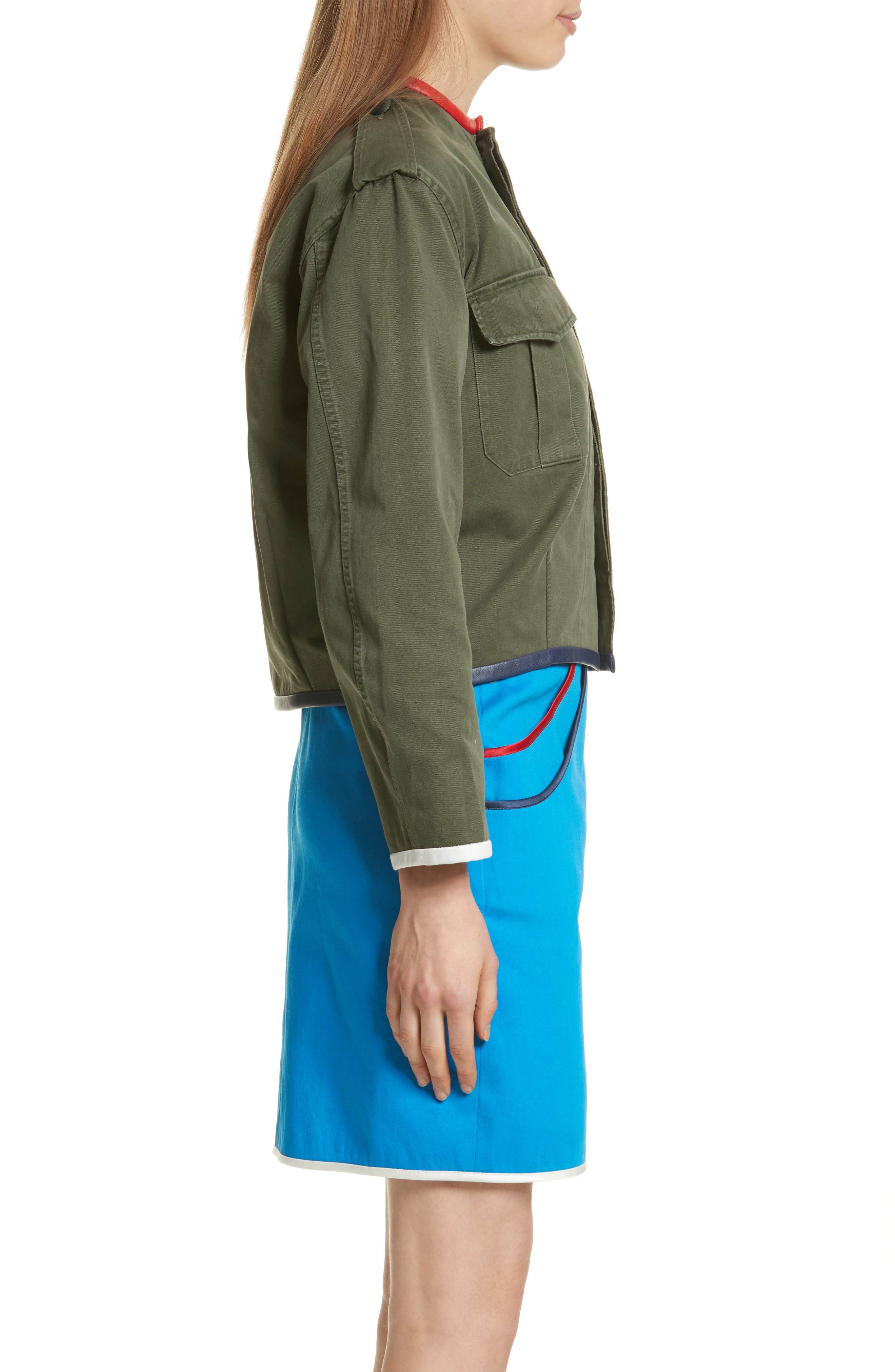 Leather Trim Crop Army Jacket,                             Alternate thumbnail 3, color,                             Olive