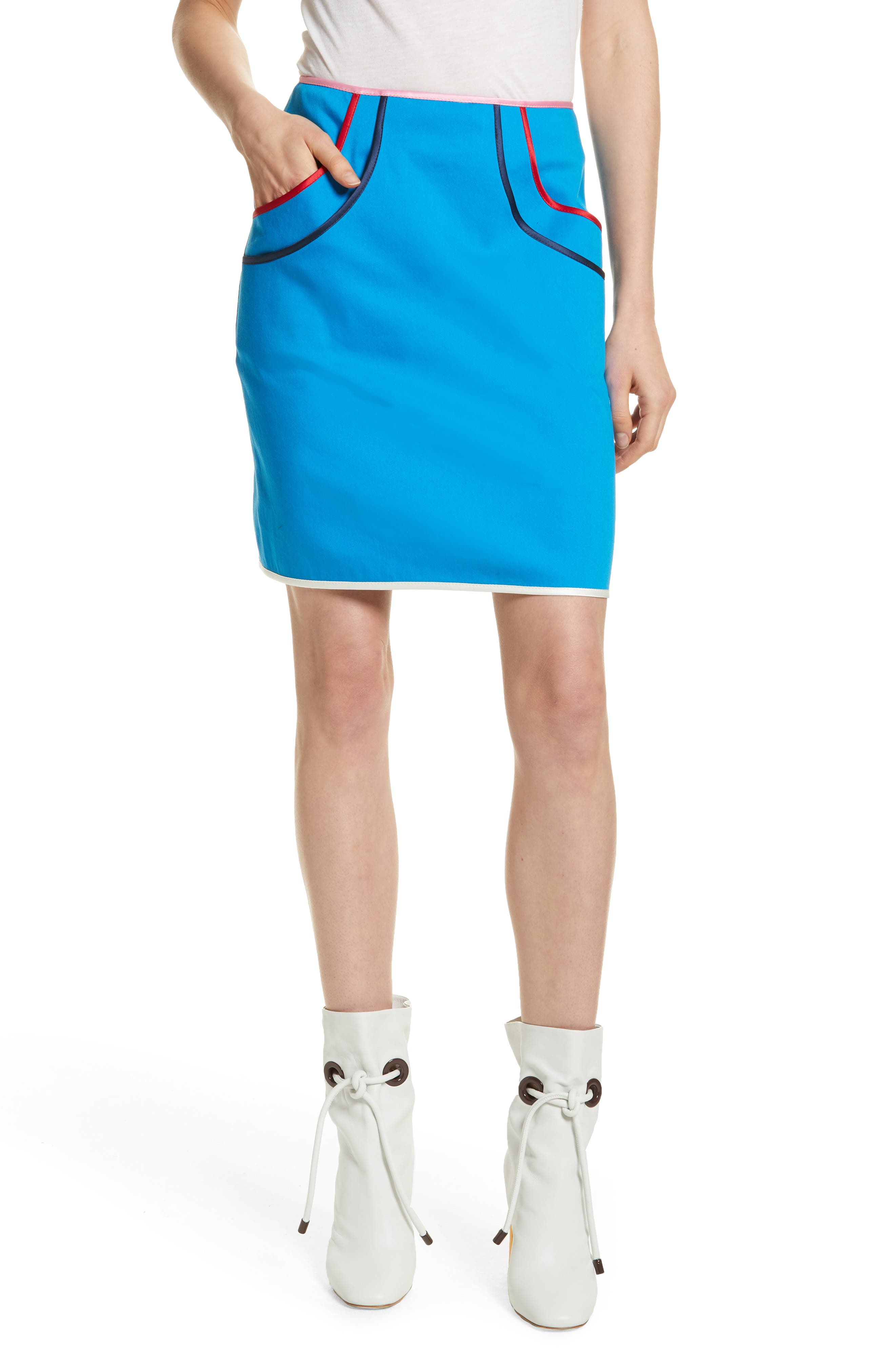 Piping Detail Skirt,                             Main thumbnail 1, color,                             Electric Blue