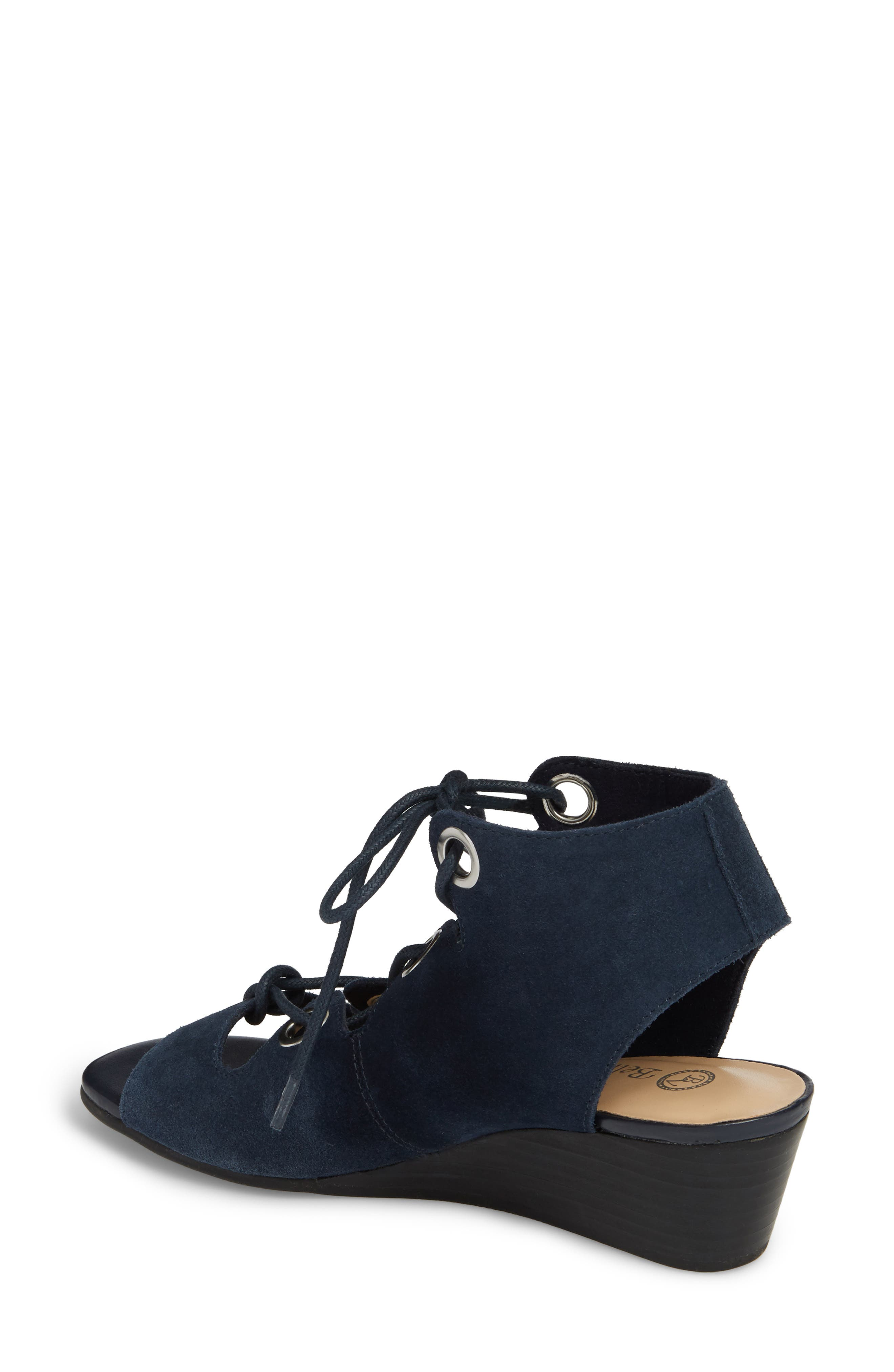 Ingrid Lace-Up Sandal,                             Alternate thumbnail 2, color,                             Navy Suede