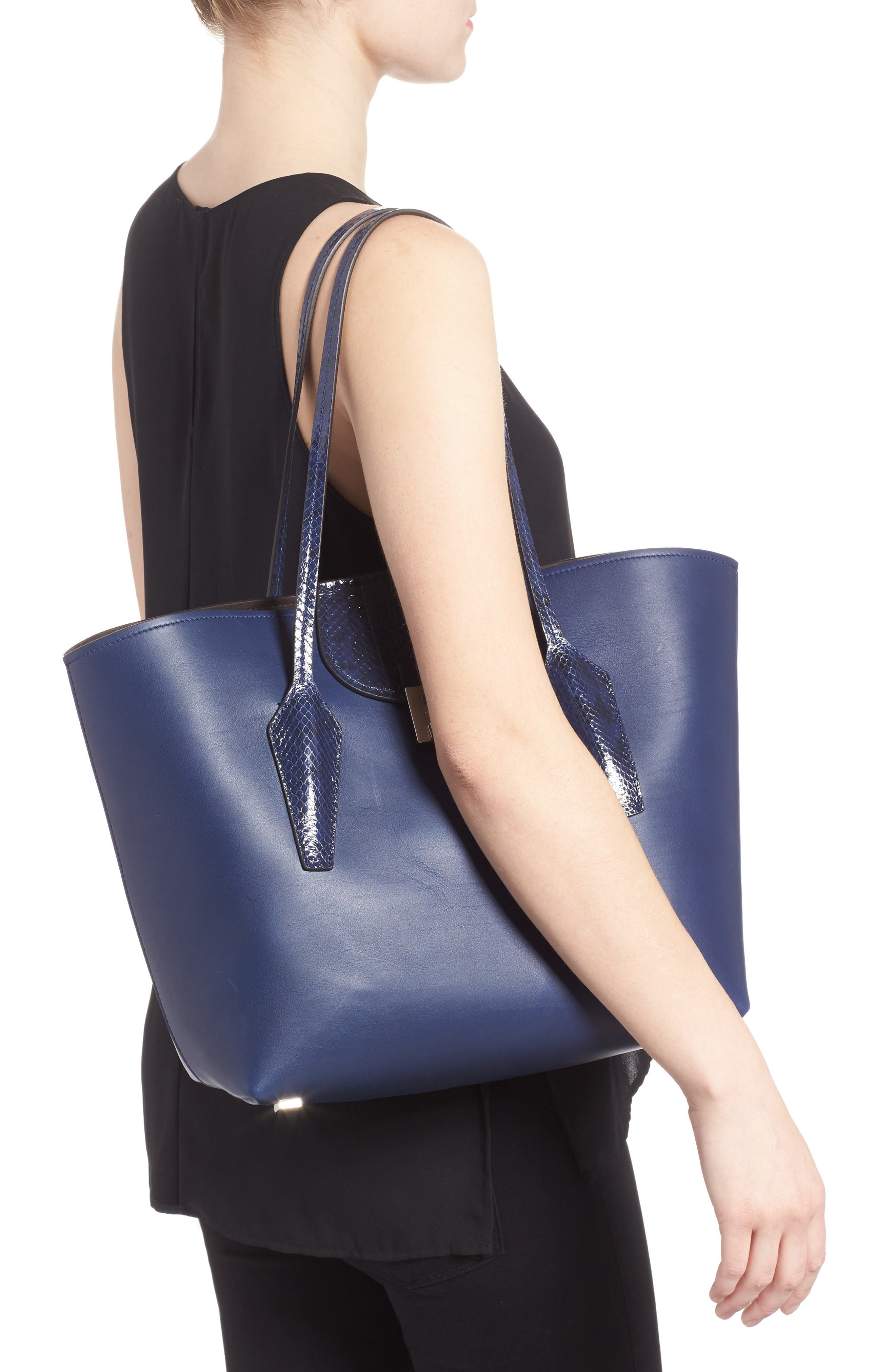 Large Bancroft Leather Tote with Genuine Snakeskin Trim,                             Alternate thumbnail 2, color,                             Sapphire