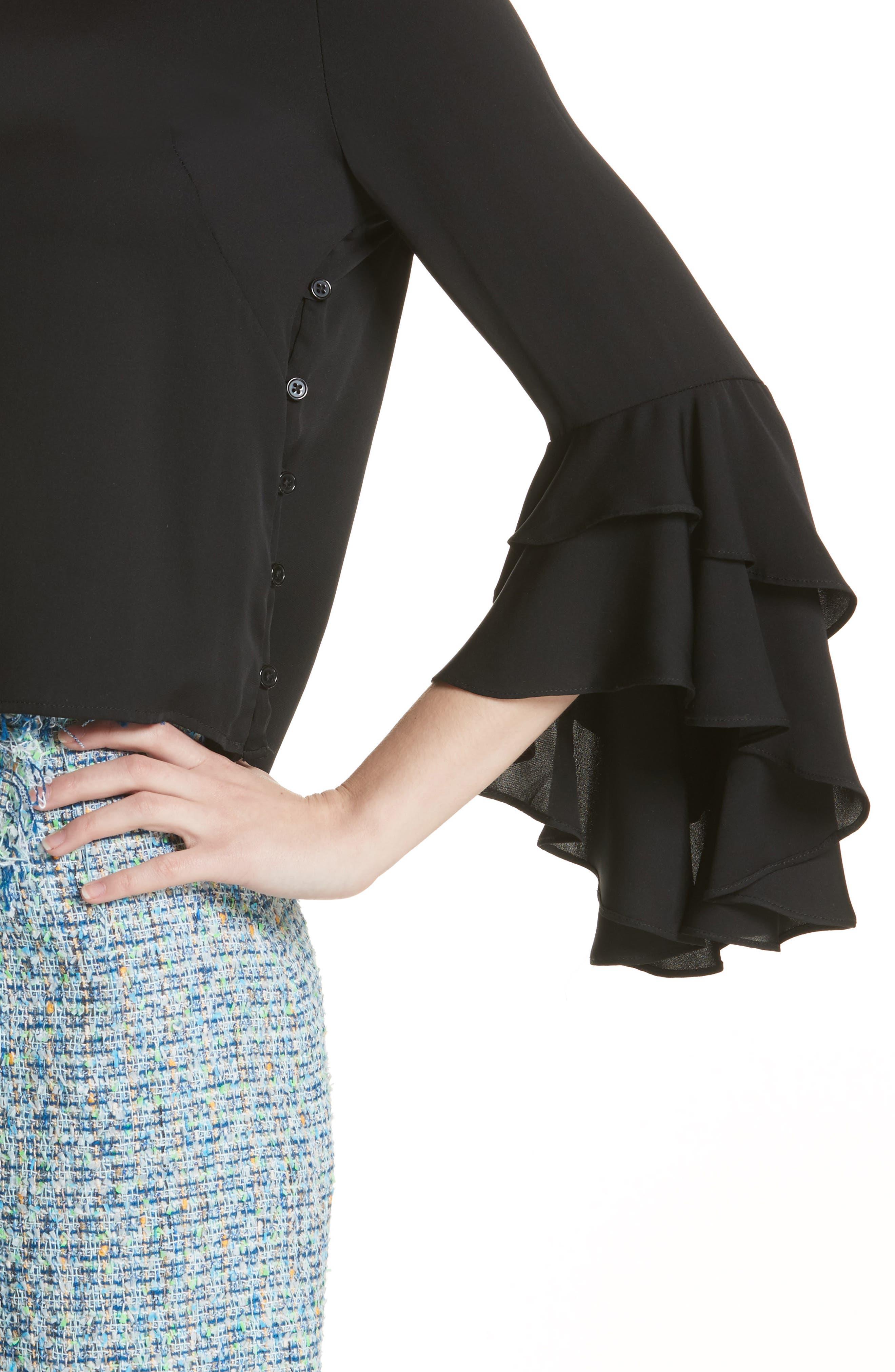 Gabby Bell Sleeve Silk Crepe Top,                             Alternate thumbnail 4, color,                             Black