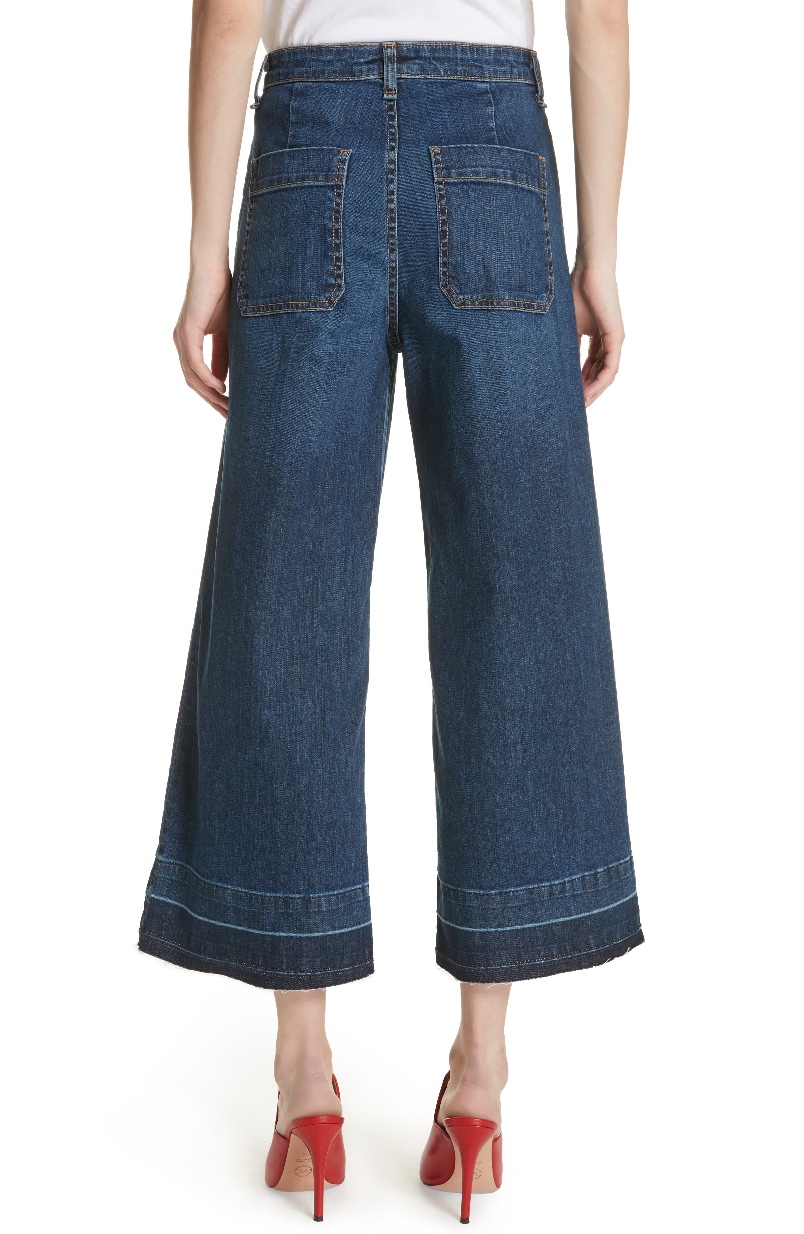 Ali High Waist Gaucho Jeans,                             Alternate thumbnail 2, color,                             Vintage Wash