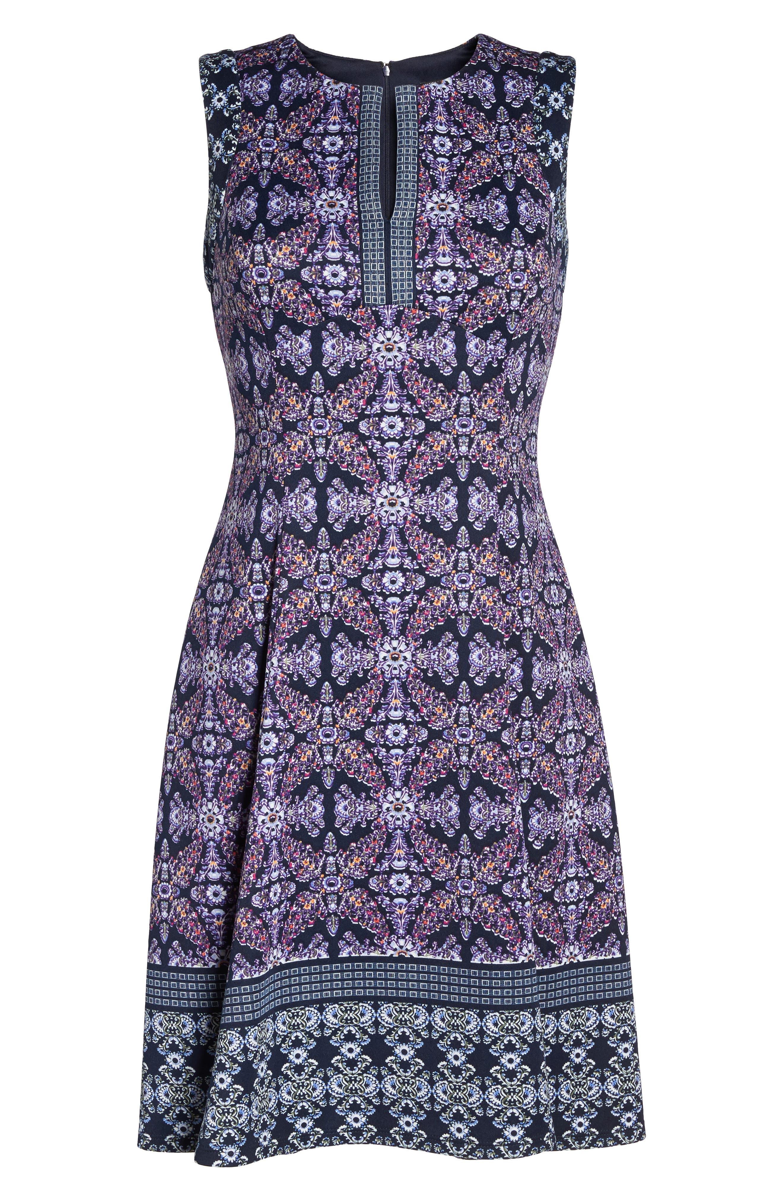 Scuba Fit & Flare Dress,                             Alternate thumbnail 6, color,                             Navy/ Lavender