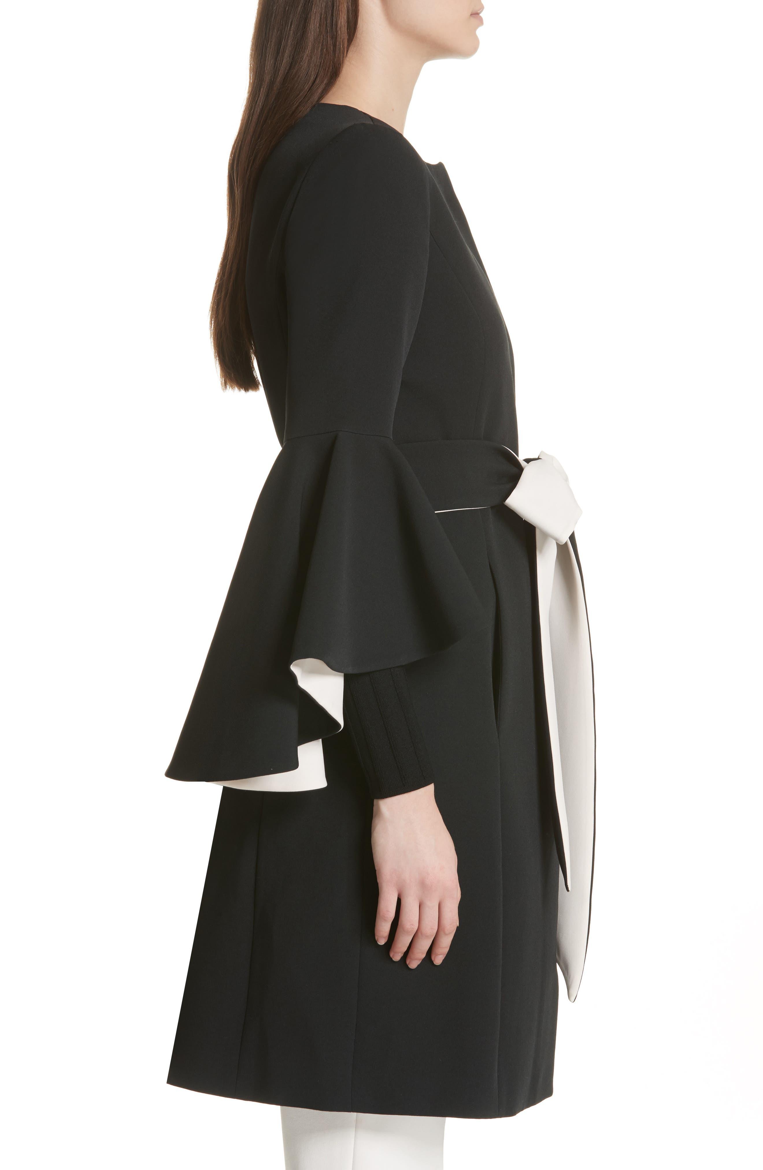Selena Ruffle Sleeve Coat,                             Alternate thumbnail 3, color,                             Black/ Cream