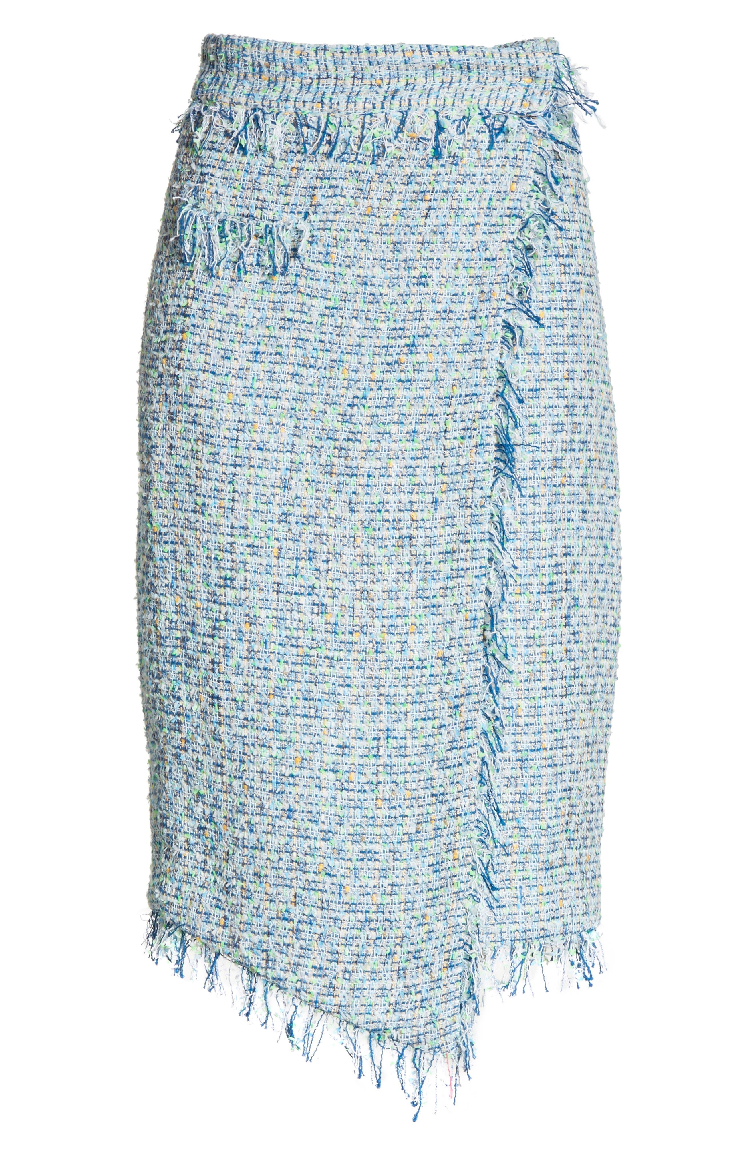 Tweed Wrap Skirt,                             Alternate thumbnail 6, color,                             Blue